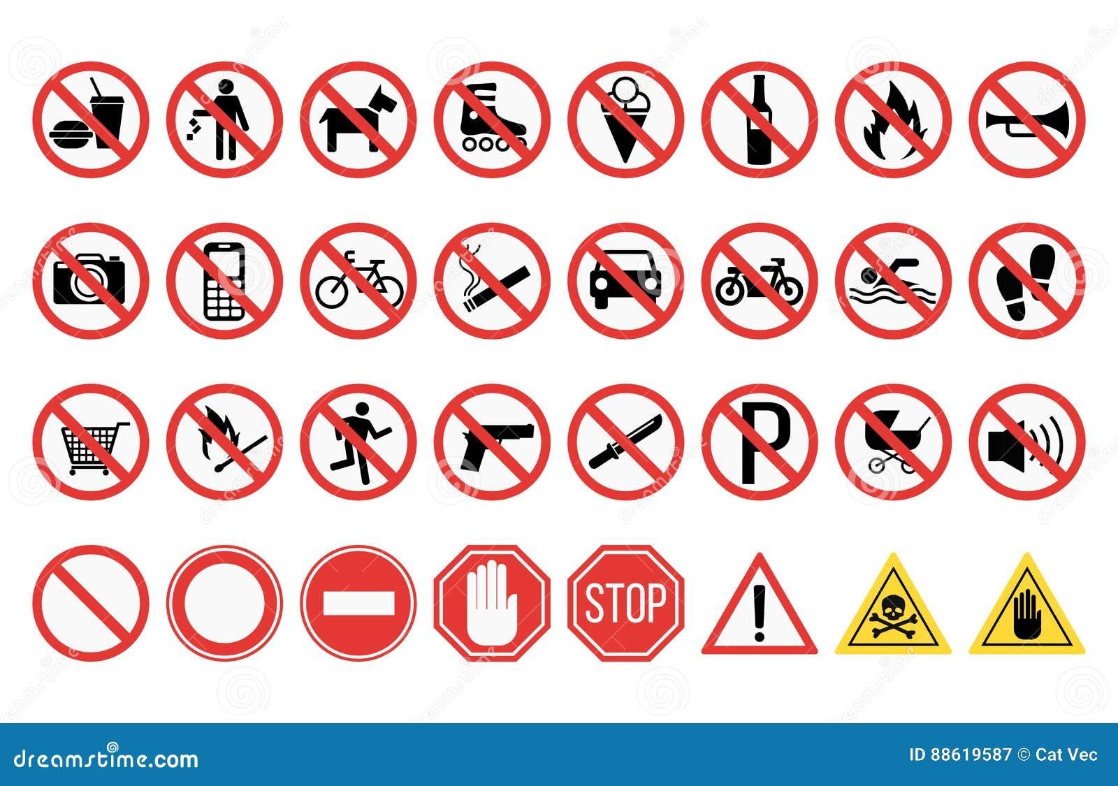 Знаки запрета установили иллюстрацию вектора информации о безопасности