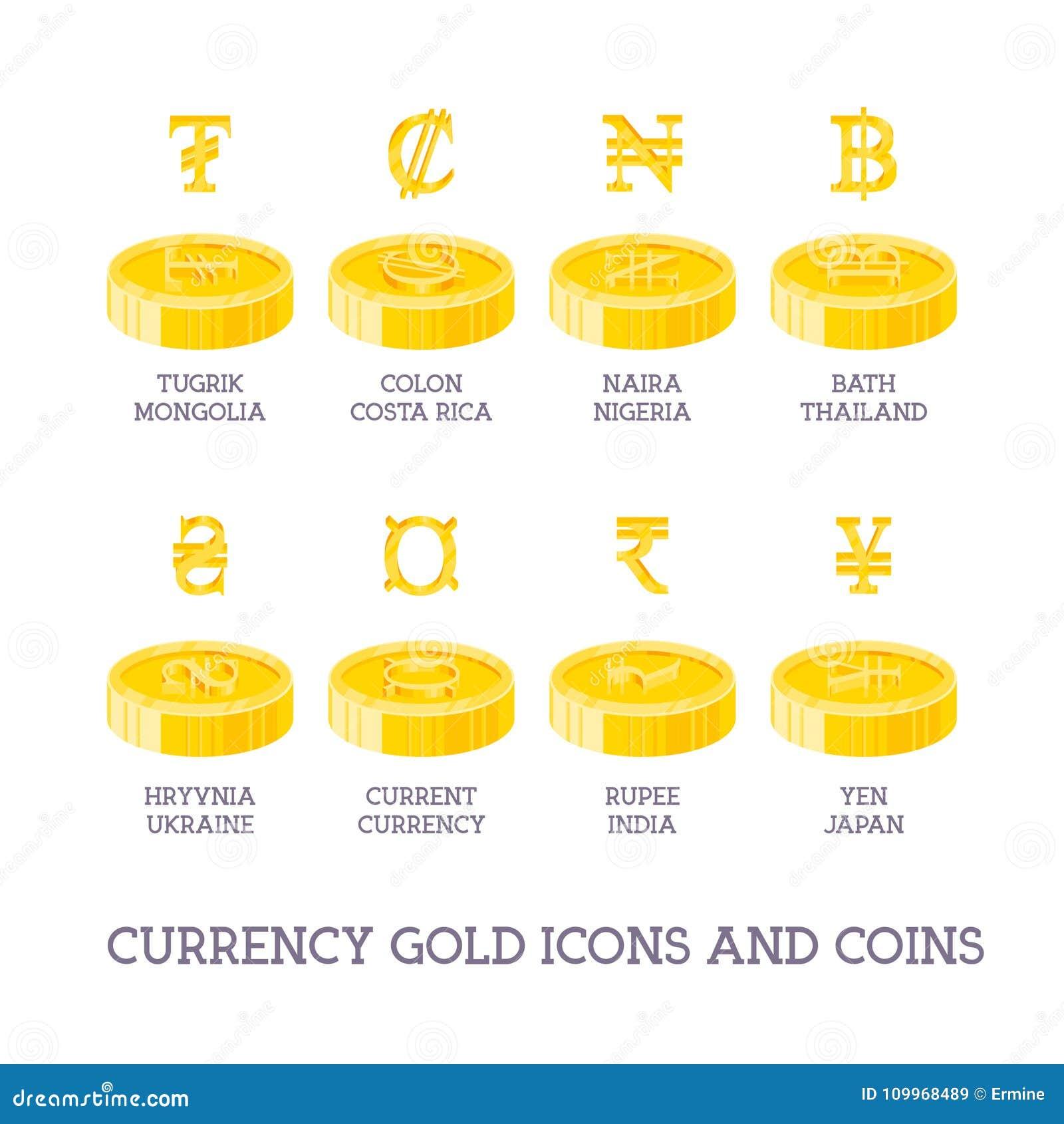 Знаки и монетки валюты мира Большие установленные символы денег и gol