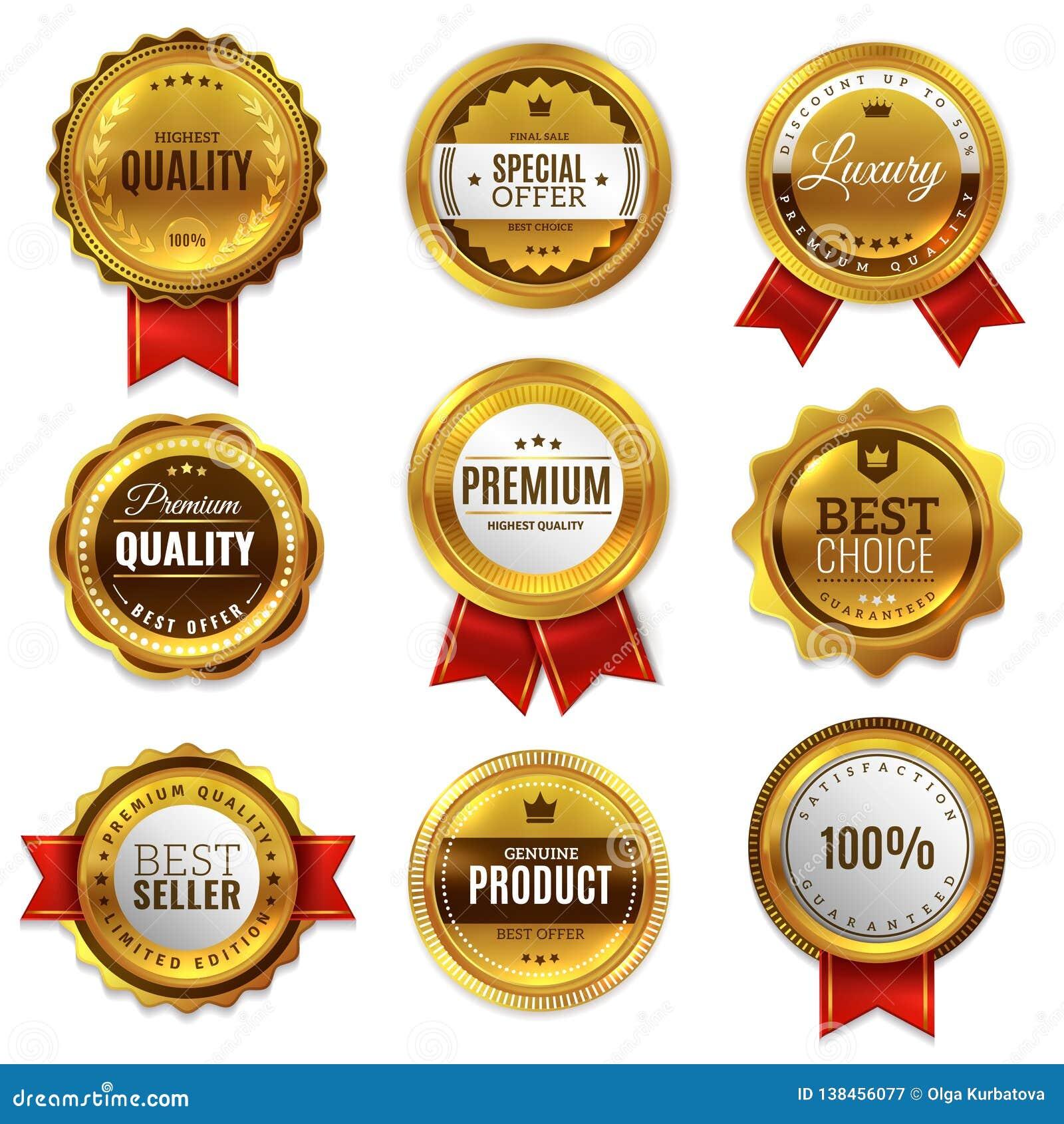 Знаки качества уплотнения значков золота Гарантии эмблемы печати значка медали продажи набор вектора наградной золотой неподдельн