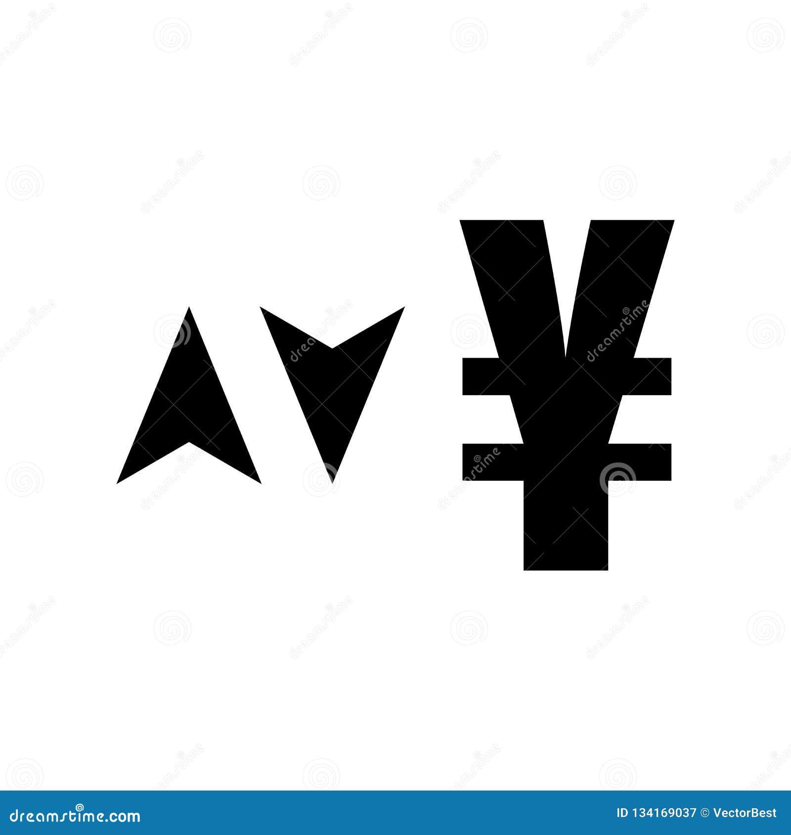 Знак валюты иен с вверх и вниз знаком вектора значка стрелок и символ изолированный на белой предпосылке, знаке валюты иен с подн