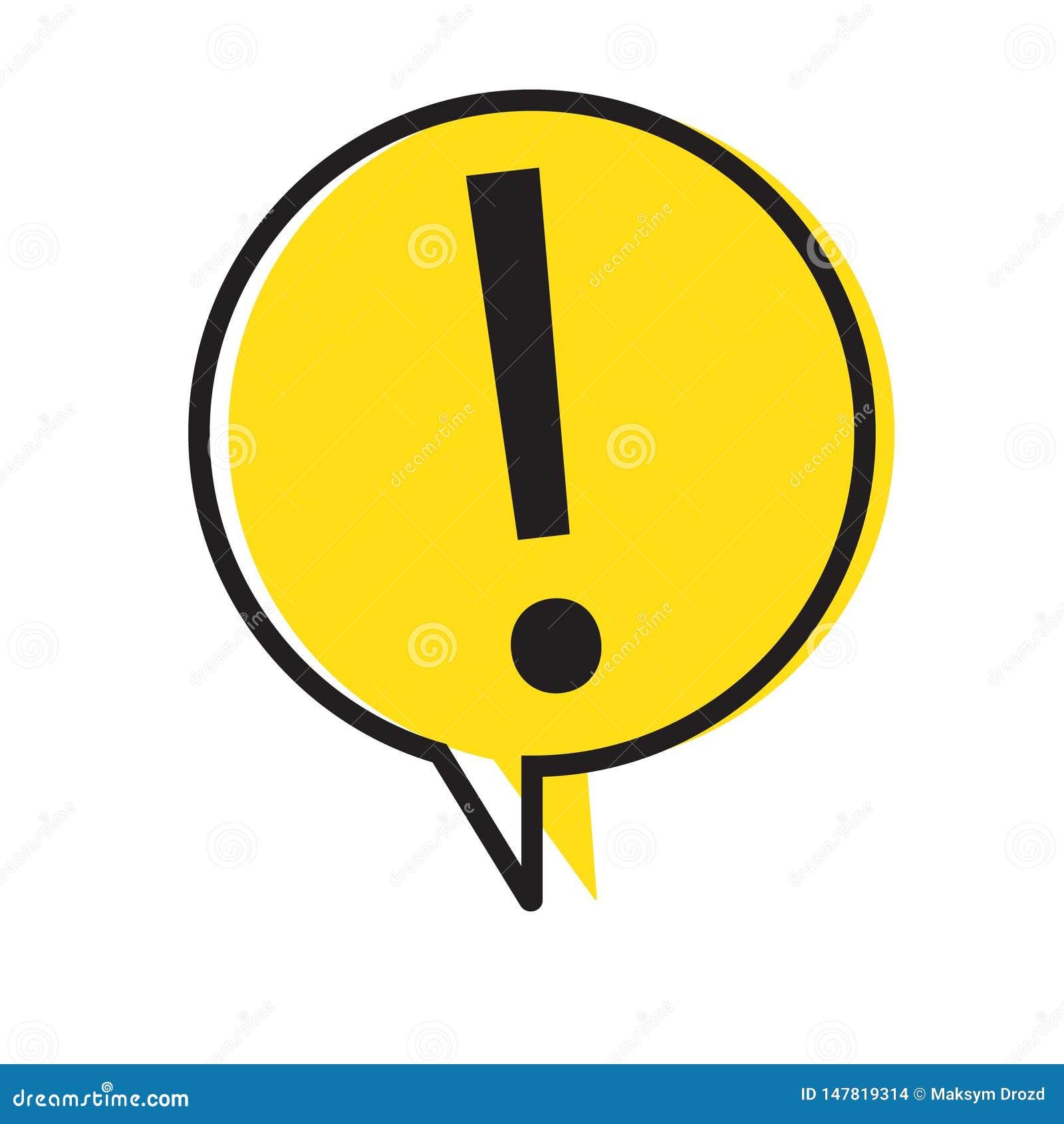 Знак внимания опасности предупреждая с символом в пузыре речи, иллюстрацией восклицательного знака вектора