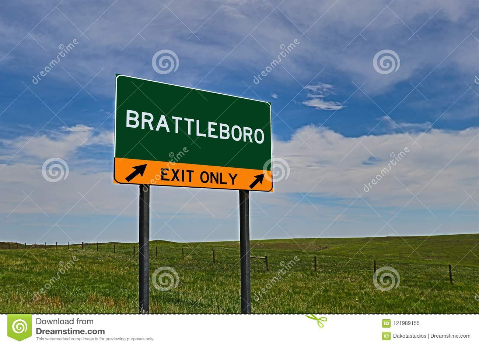 Знак выхода шоссе США для Brattleboro