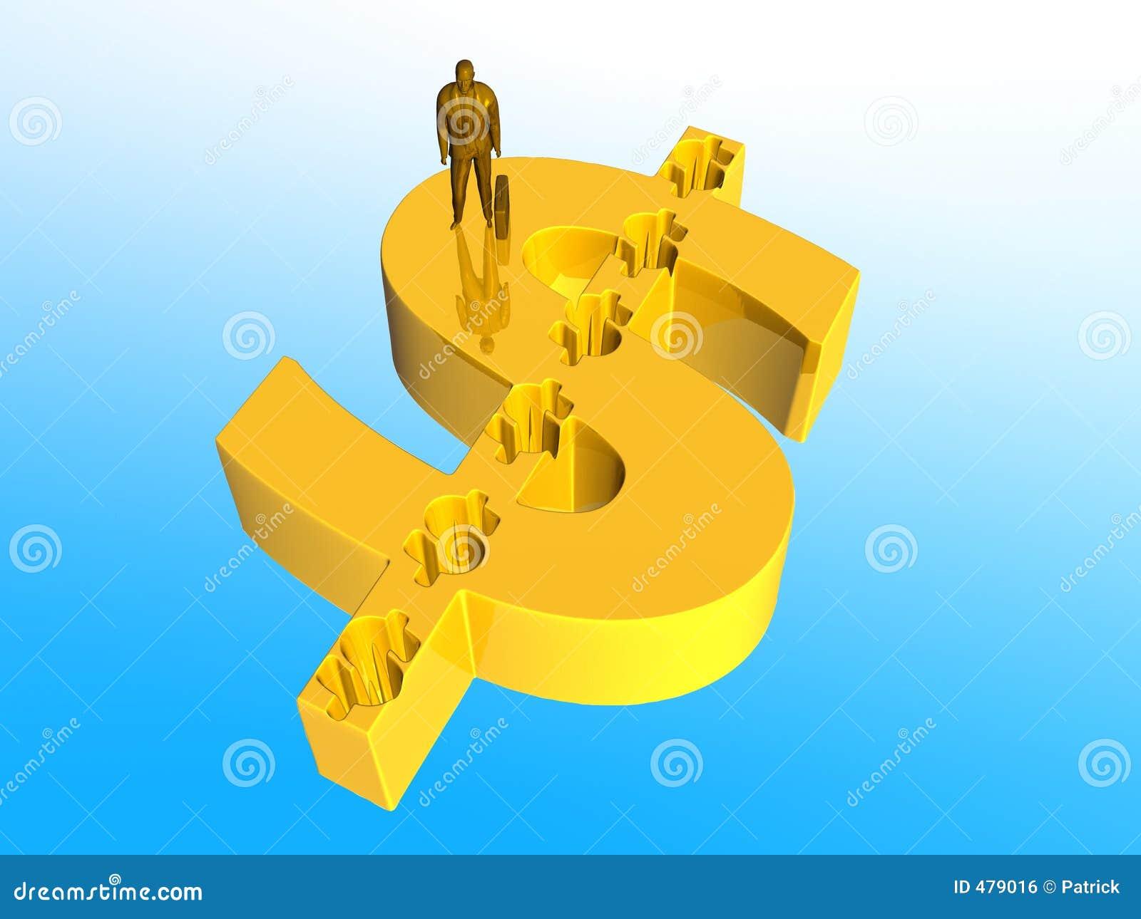 знак доллара бизнесмена