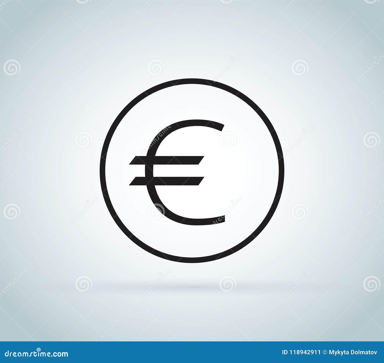 Знак евро, монетка изолированная на белой предпосылке Деньги, значок валюты Символ наличных денег Дело, концепция экономики