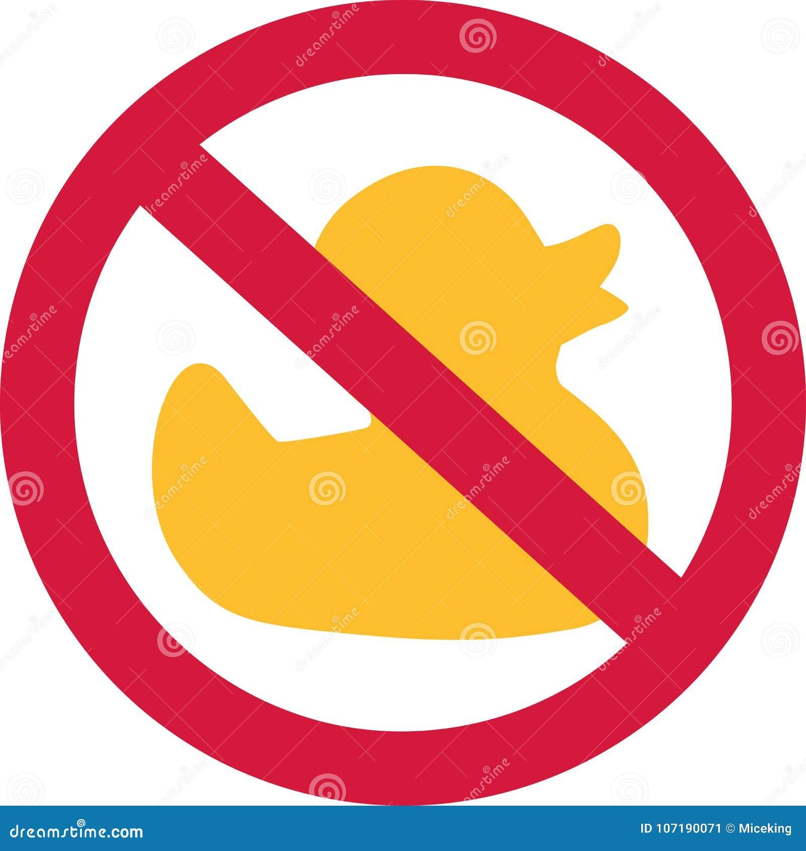 Знак запрета с резиновой уткой