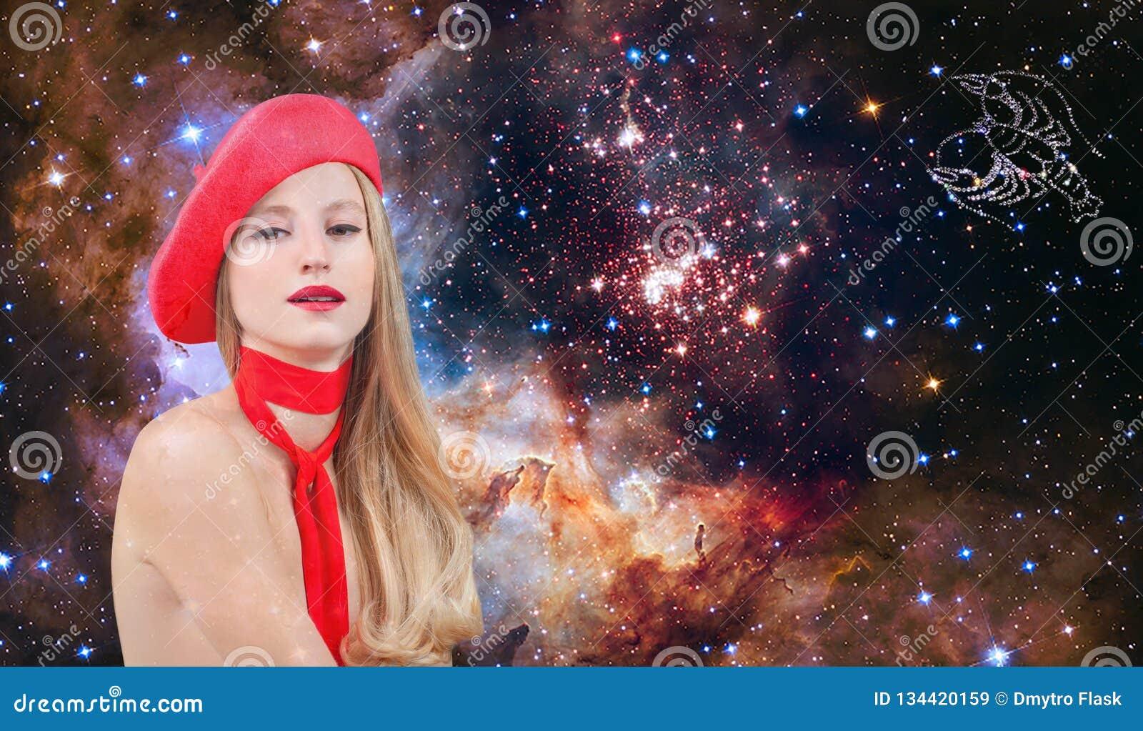 Знак зодиака Карциномы Астрология и гороскоп, красивая Карцинома женщины на предпосылке галактики