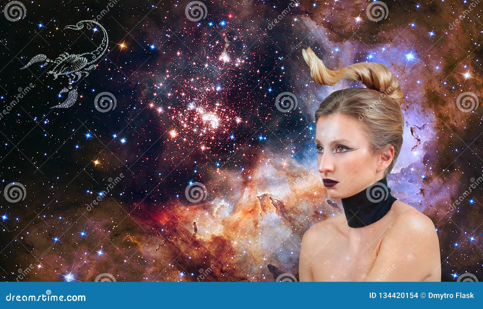 Знак зодиака Scorpio Астрология и гороскоп, красивый Scorpio женщины на предпосылке галактики