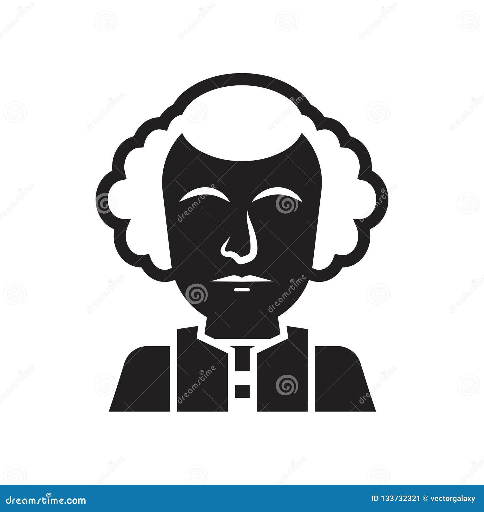 Знак и символ вектора значка Джорджа Вашингтона изолированные на белизне