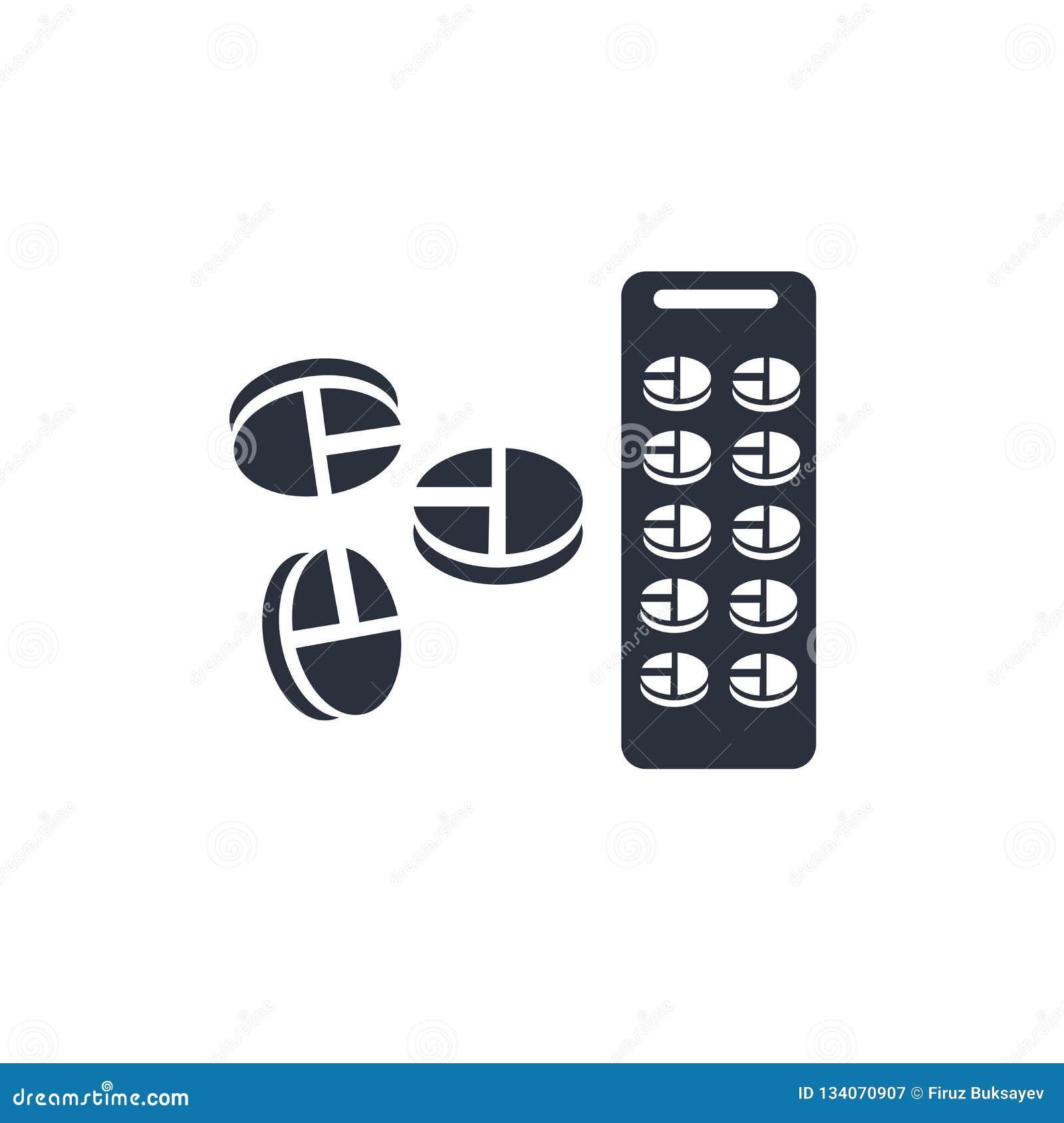 Знак и символ вектора значка капсул медицины изолированные на белой предпосылке, концепции логотипа капсул медицины