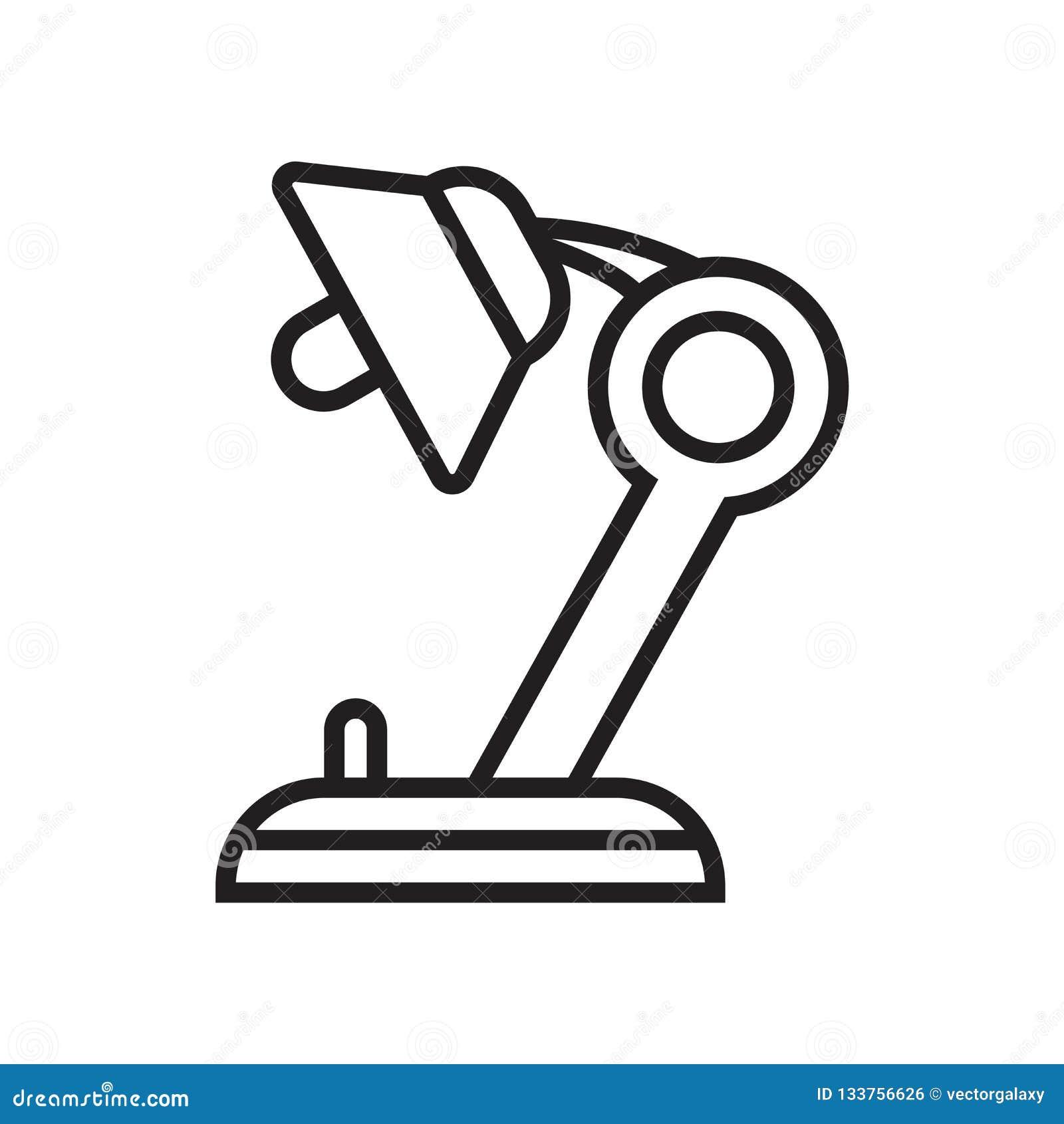 Знак и символ вектора значка лампы стола изолированные на белой предпосылке, концепции логотипа лампы стола