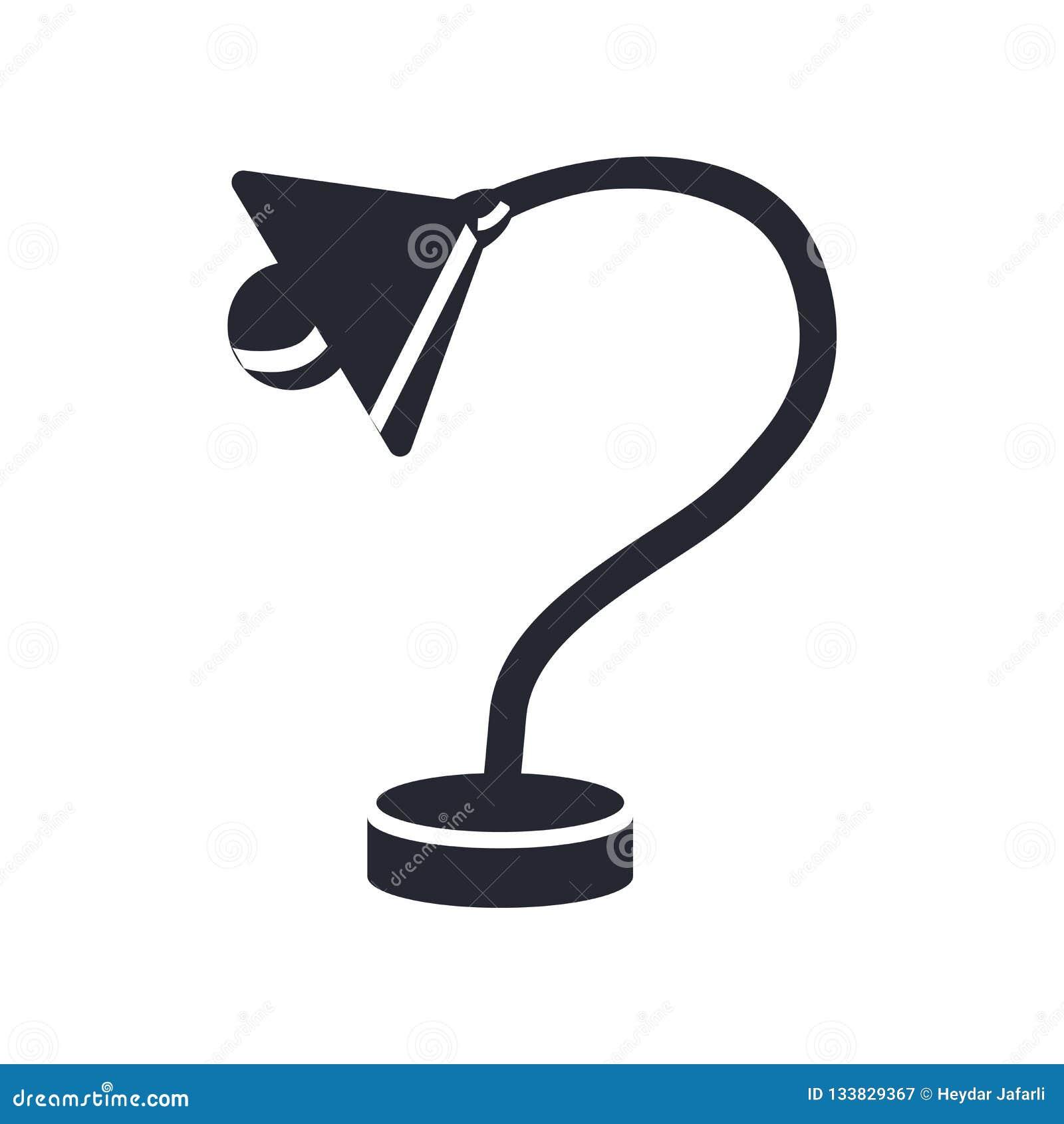 Знак и символ вектора значка настольной лампы изолированные на белом backgro