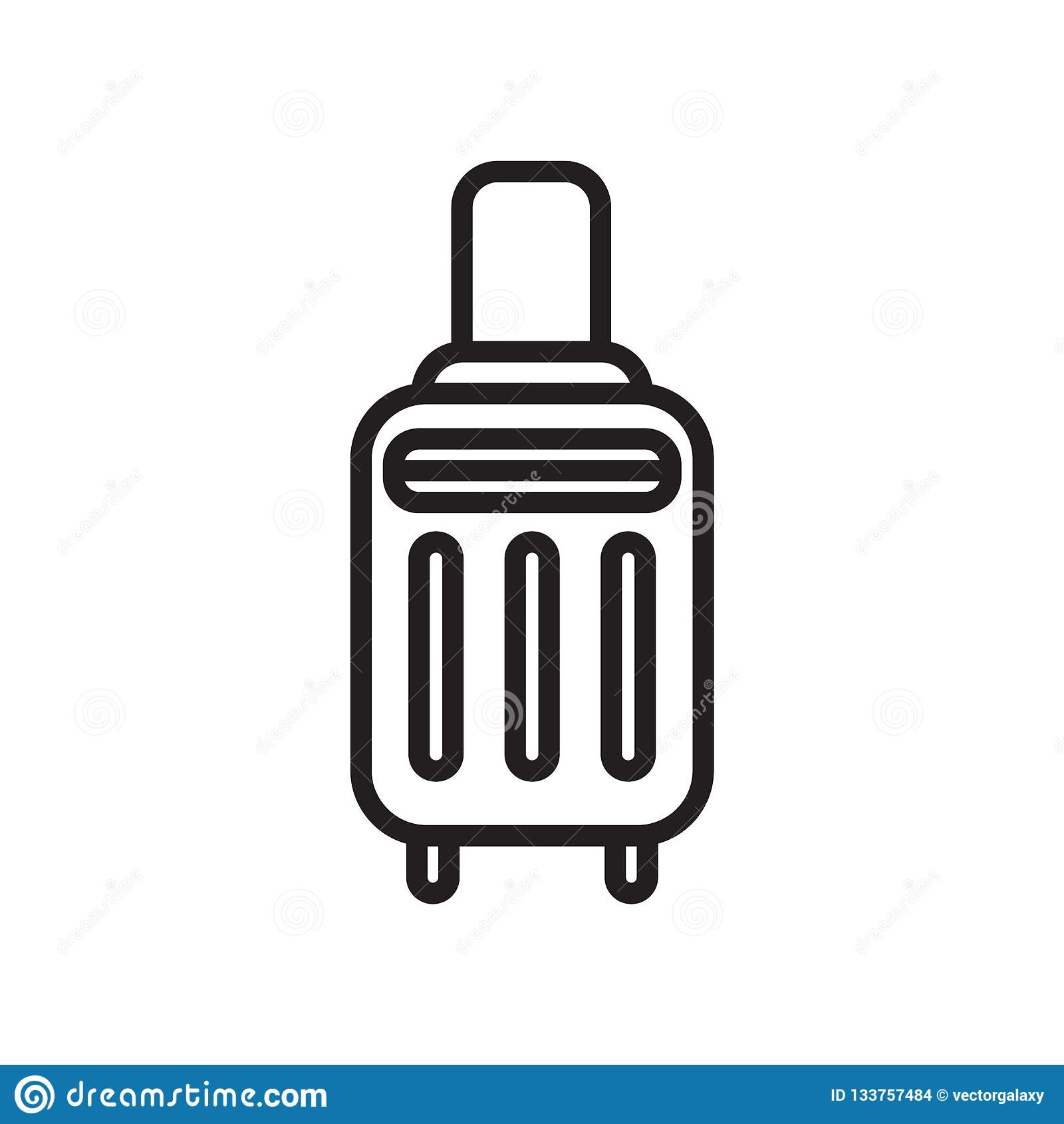 Знак и символ вектора значка чемодана изолированные на белой предпосылке, концепции логотипа чемодана