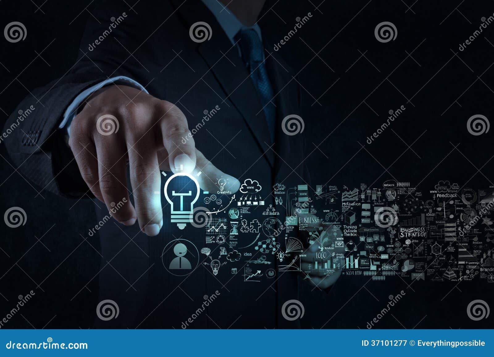 Знак и стратегия бизнеса электрической лампочки касания руки бизнесмена