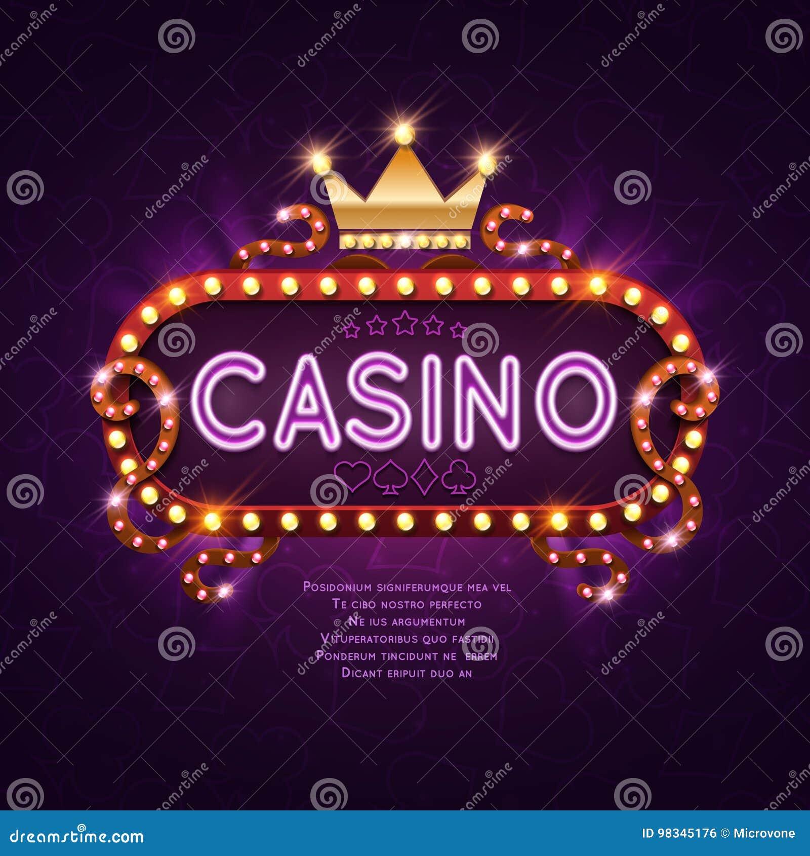 Знак казино Вегас ретро светлый для иллюстрации вектора предпосылки игры