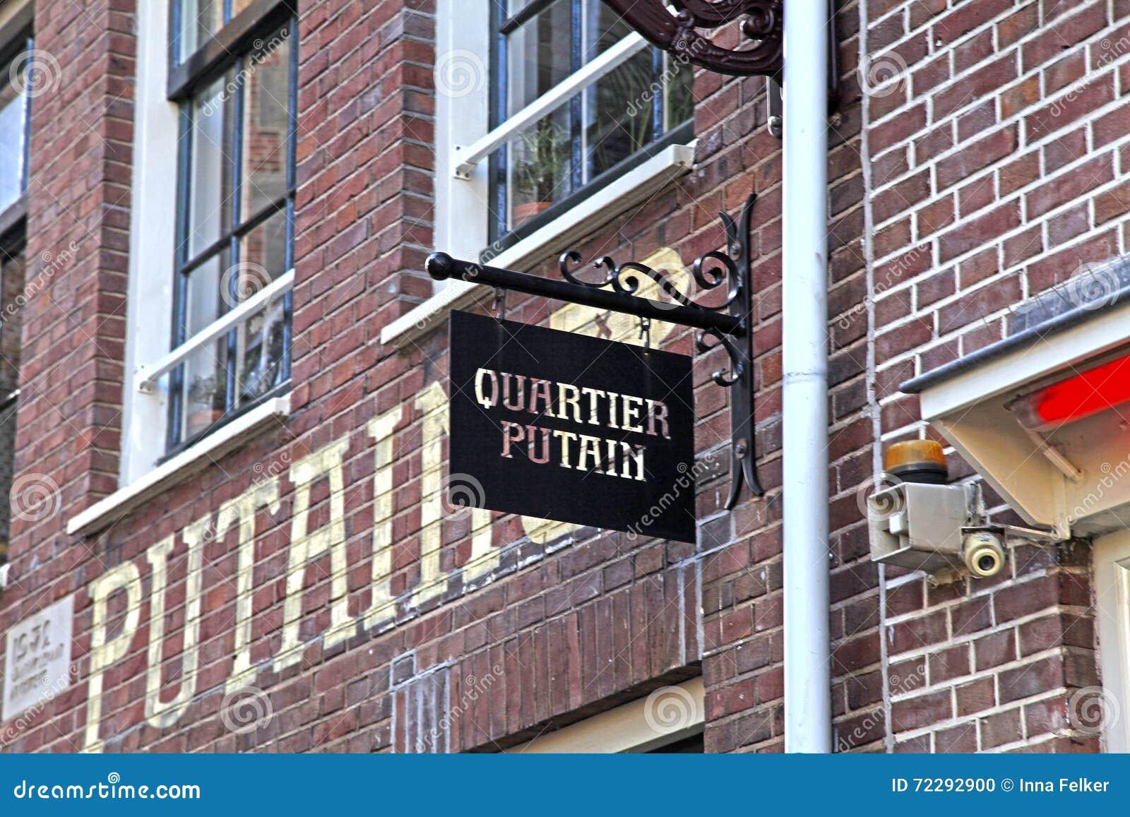 Download Знак кафа Quartier Putain в районе красных светов Амстердама Редакционное Изображение - изображение насчитывающей вымостите, королевско: 72292900