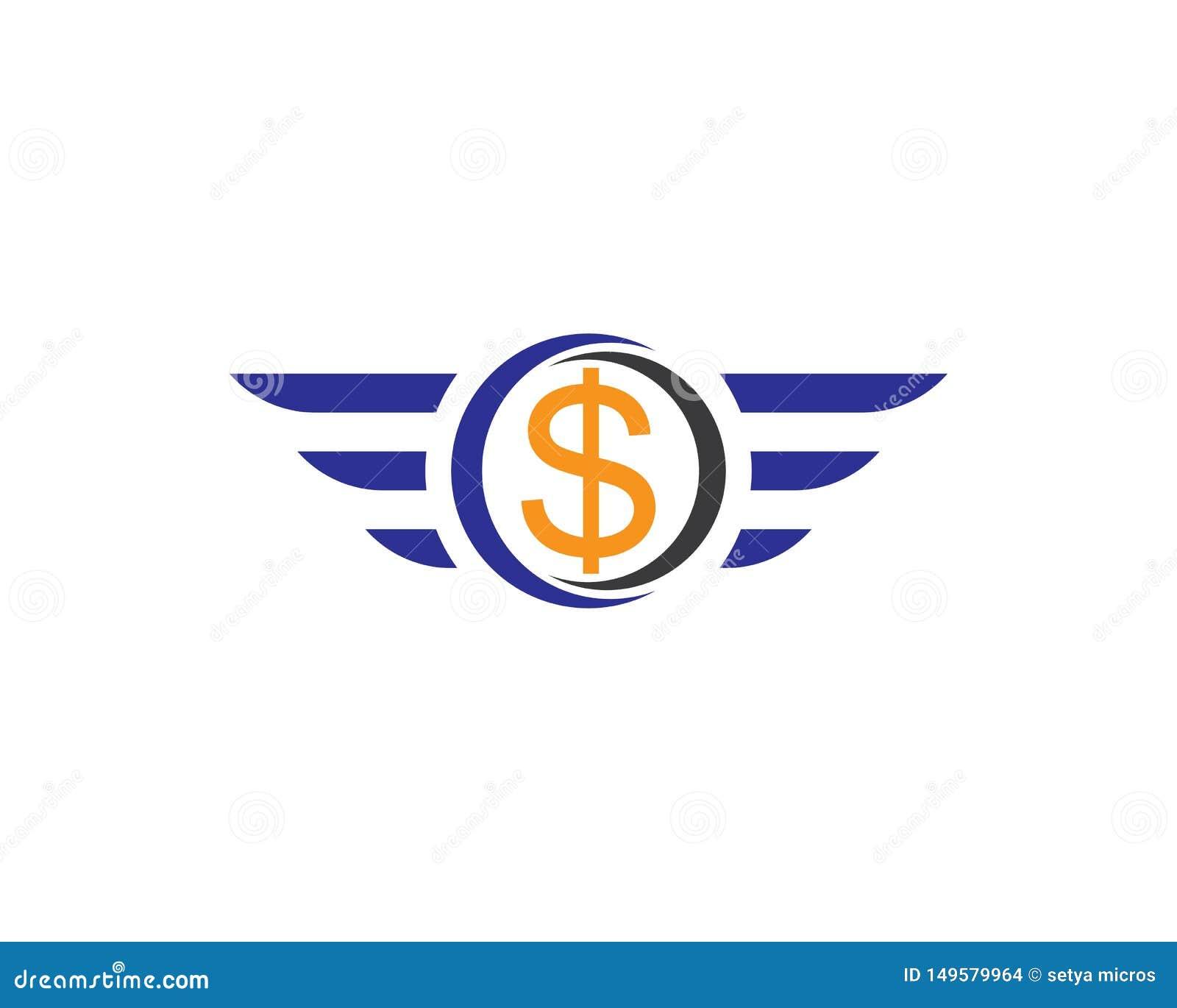 Знак летая доллара с изолированной крыльями иллюстрацией вектора