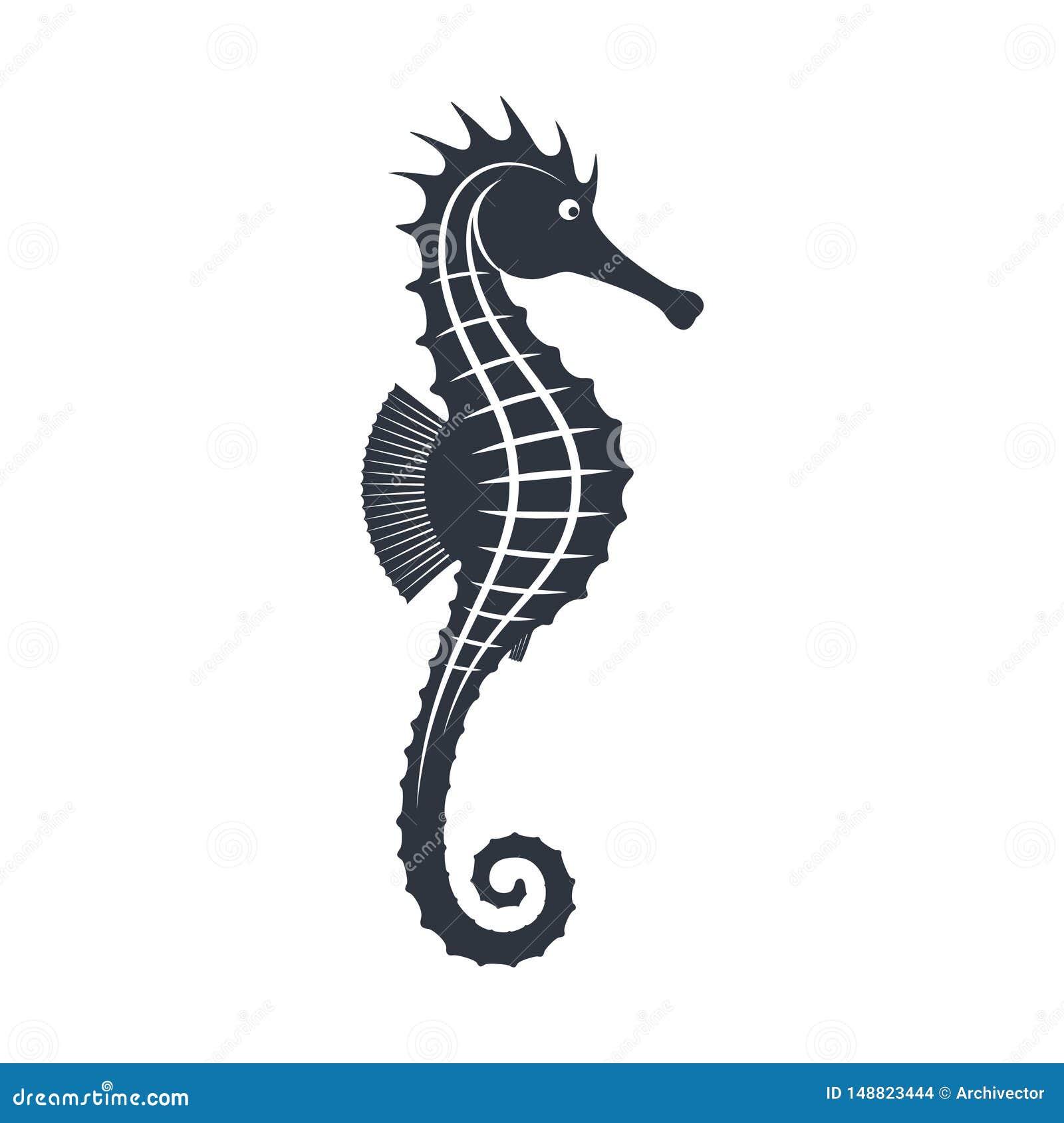 Знак морского конька графический