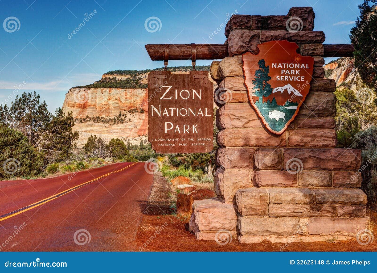 Знак национального парка Сиона