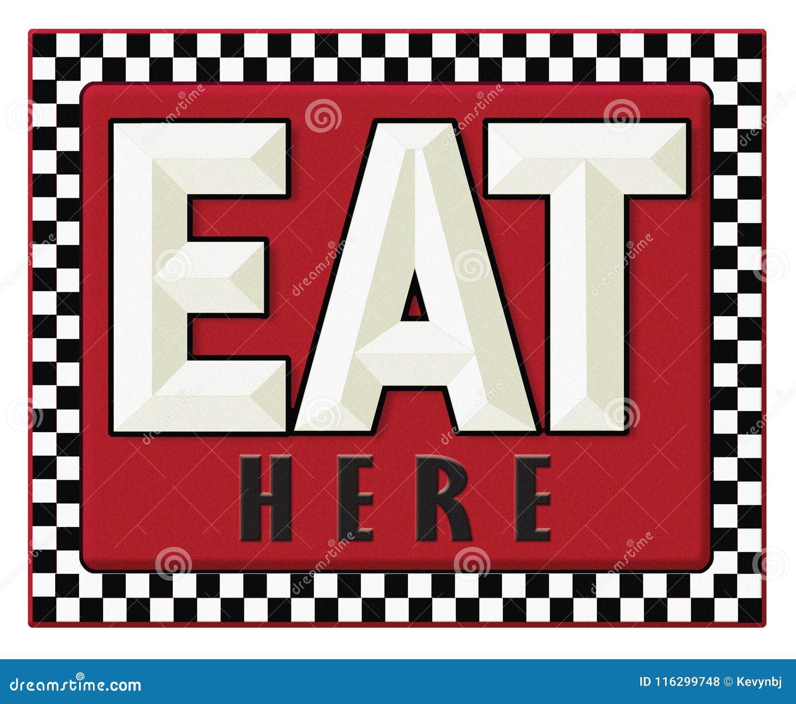 Знак обедающего ретро ест здесь