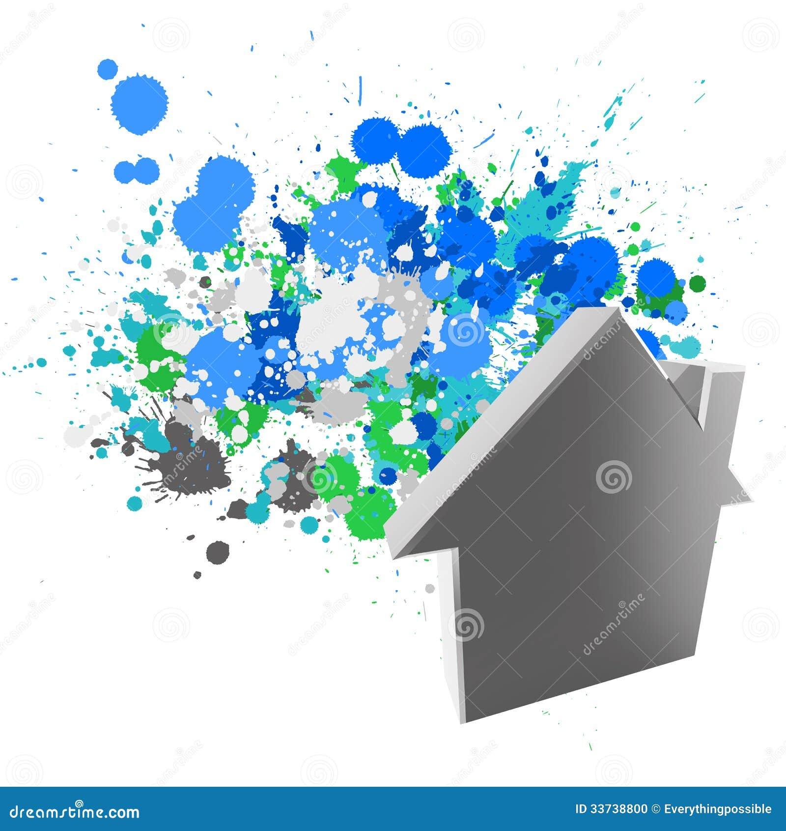 знак дома 3d на цветах выплеска