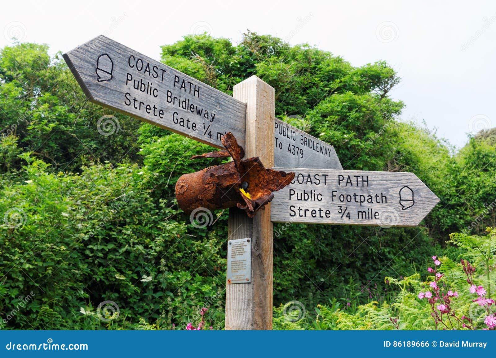 Знак пути побережья, Strete, Девон, Великобритания