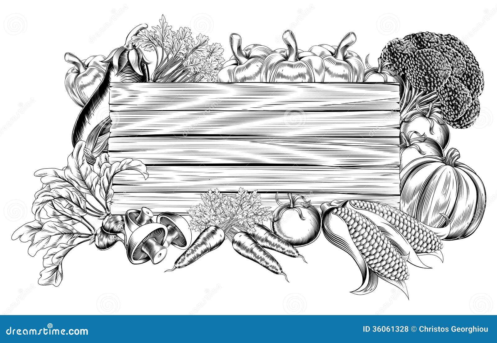 Знак свежего сада Vegetable деревянный