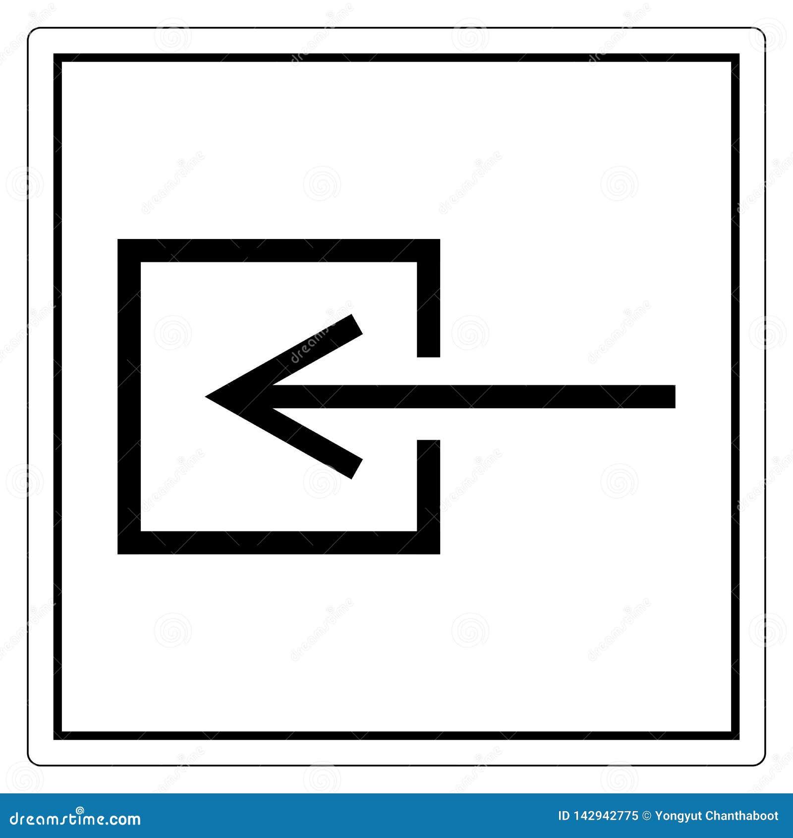 Знак символа входа входного сигнала Не-электрический, иллюстрация вектора, изолят на белом ярлыке предпосылки EPS10