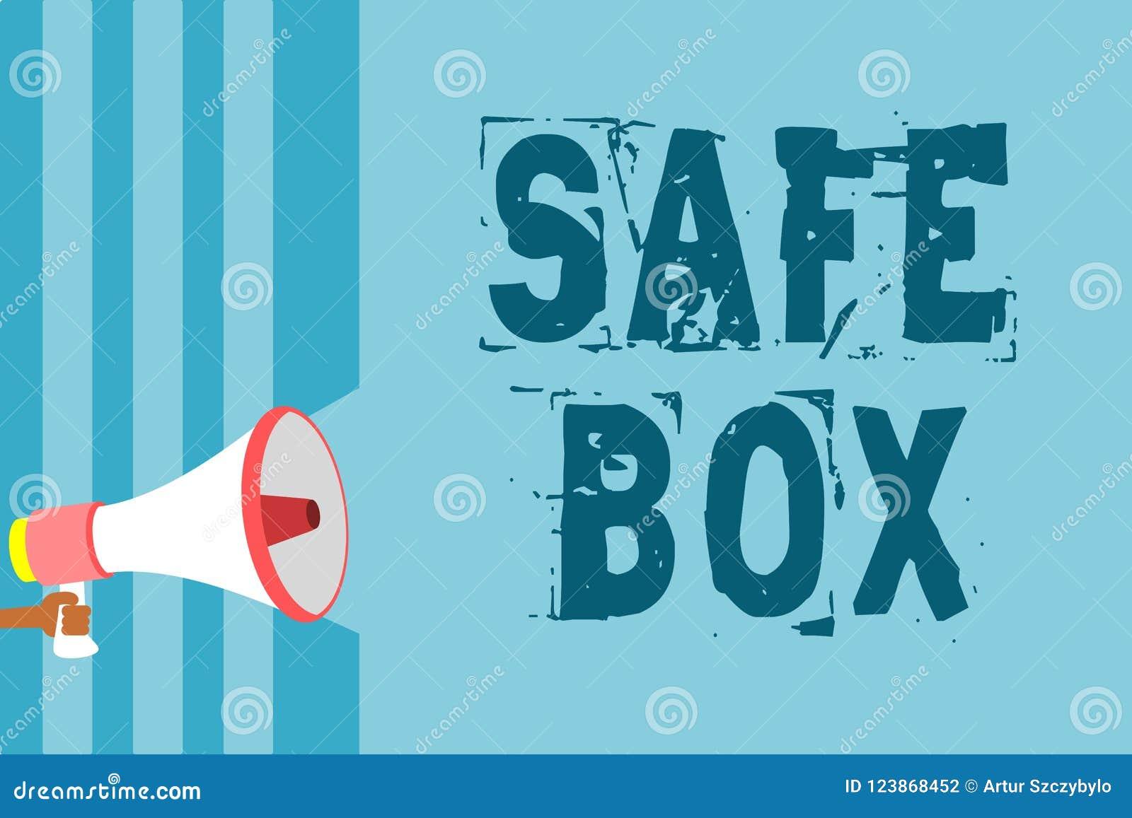 Знак текста показывая безопасную коробку Схематическая структура фото a малая где вы можете держать важное или ценное loudspeak м