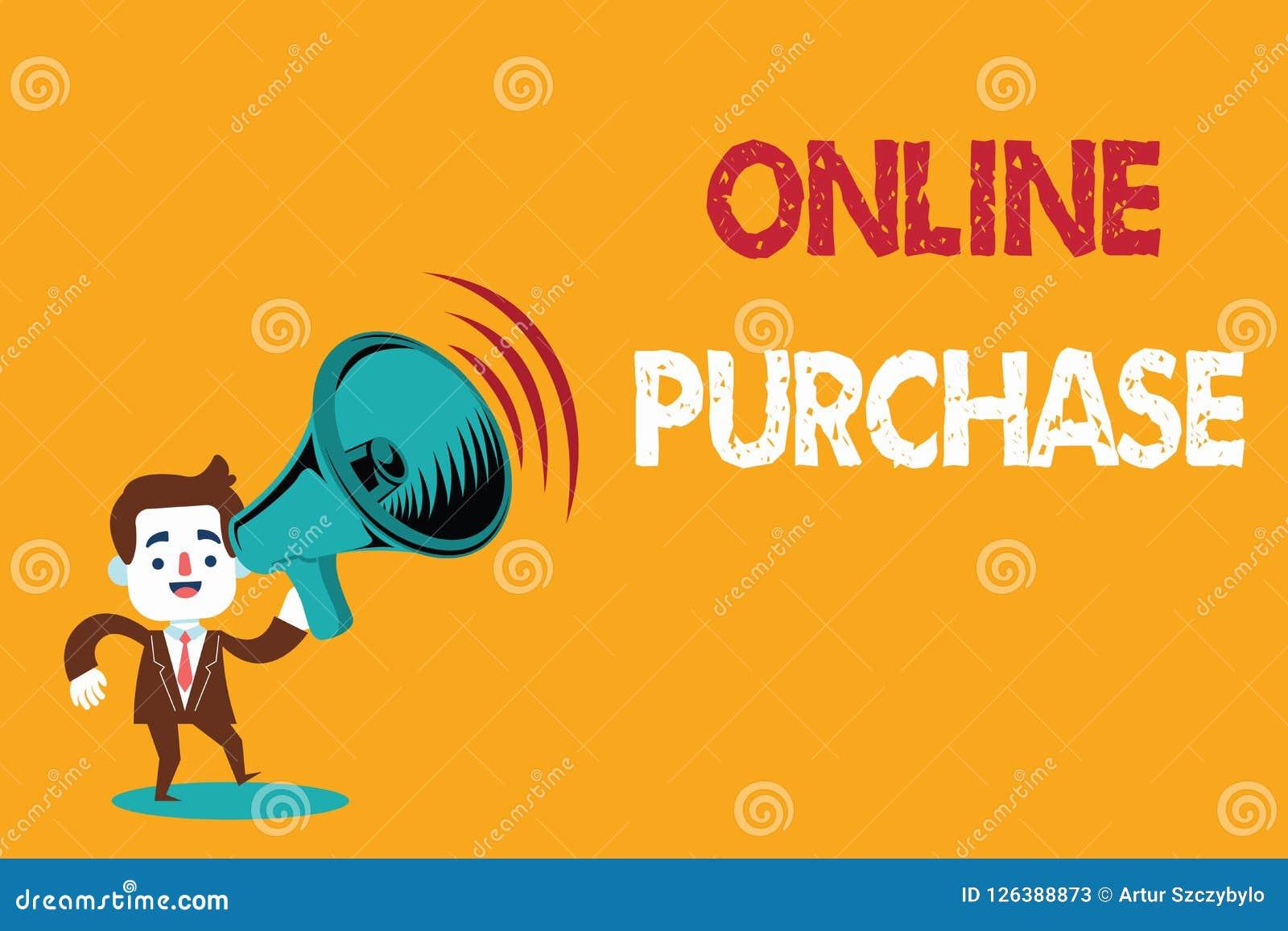 Знак текста показывая онлайн приобретение Схематическое фото покупает товары электронной коммерции от над интернета