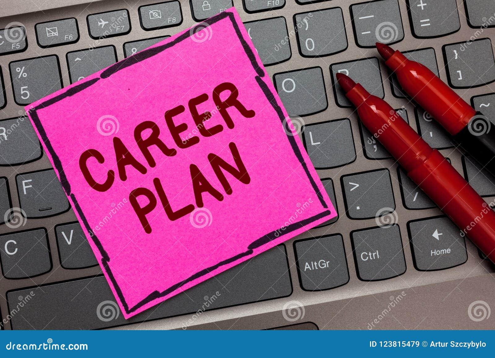 Знак текста показывая план карьеры Процесс схематического фото продолжающийся где вы исследуете ваши интересы и клавиатуру способ