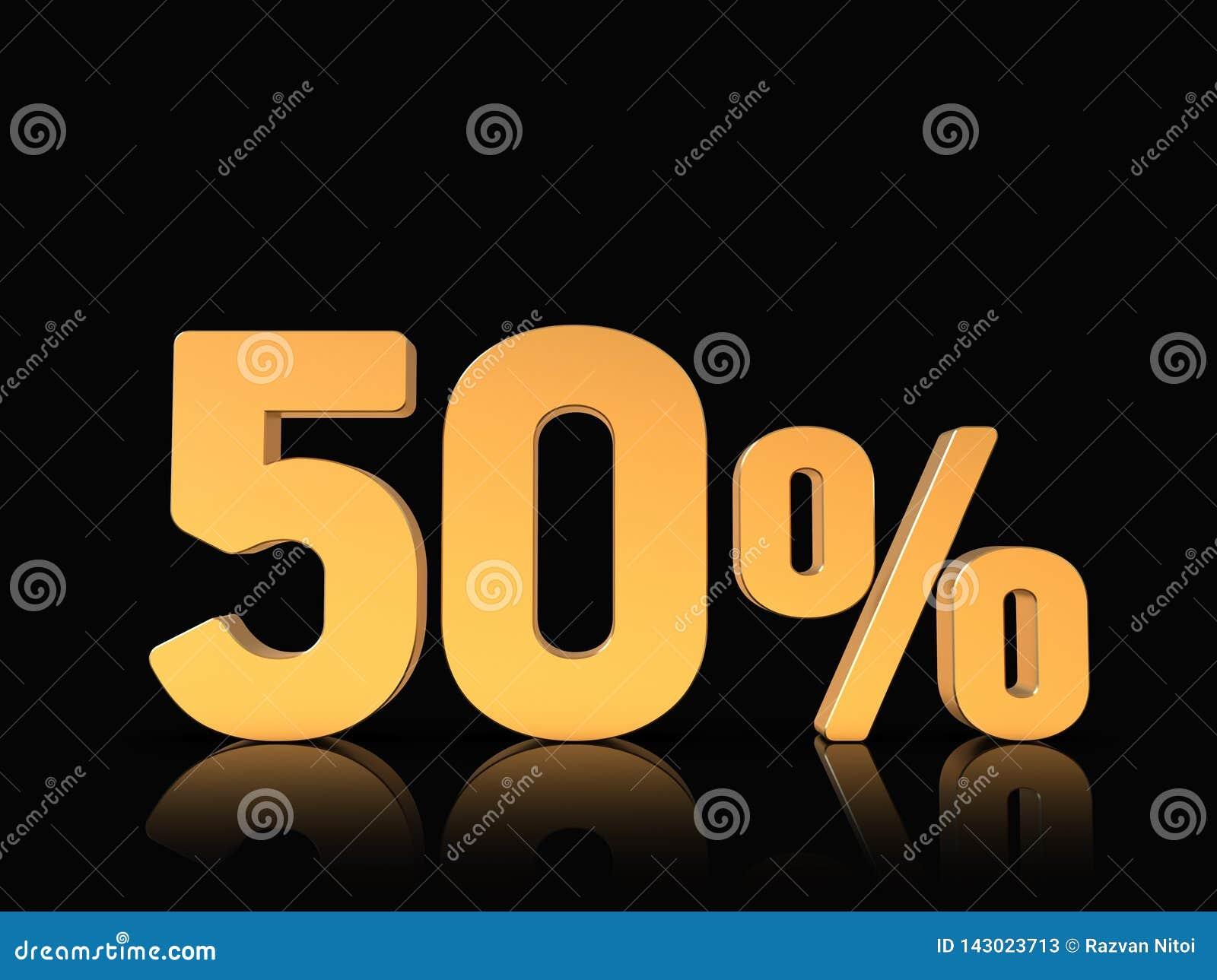 знак цены со скидкой 50 , 3D цифры, золото на черноте