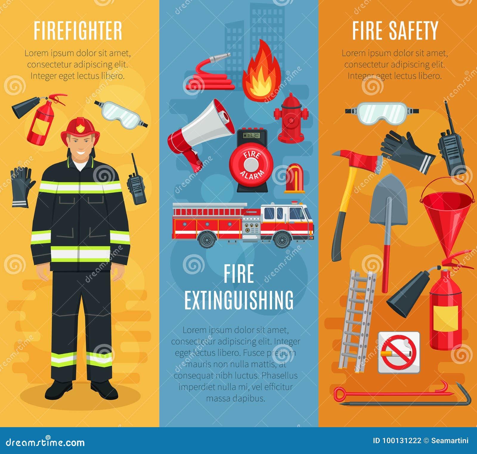 Знамена вектора Firefighting установленные инструментов пожарного