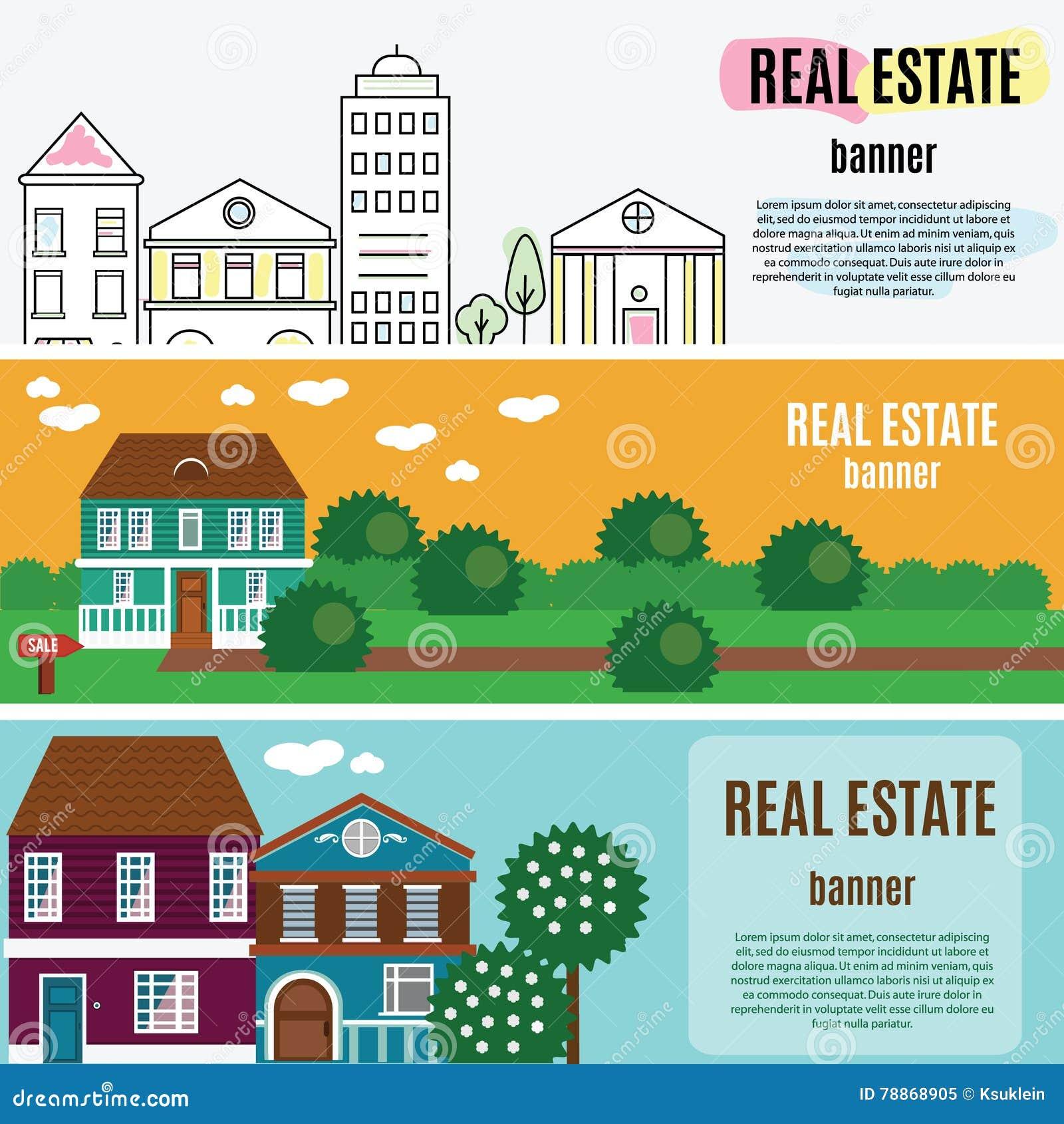Знамена недвижимости горизонтальные Дом, коттедж, таунхаус, домашняя иллюстрация вектора
