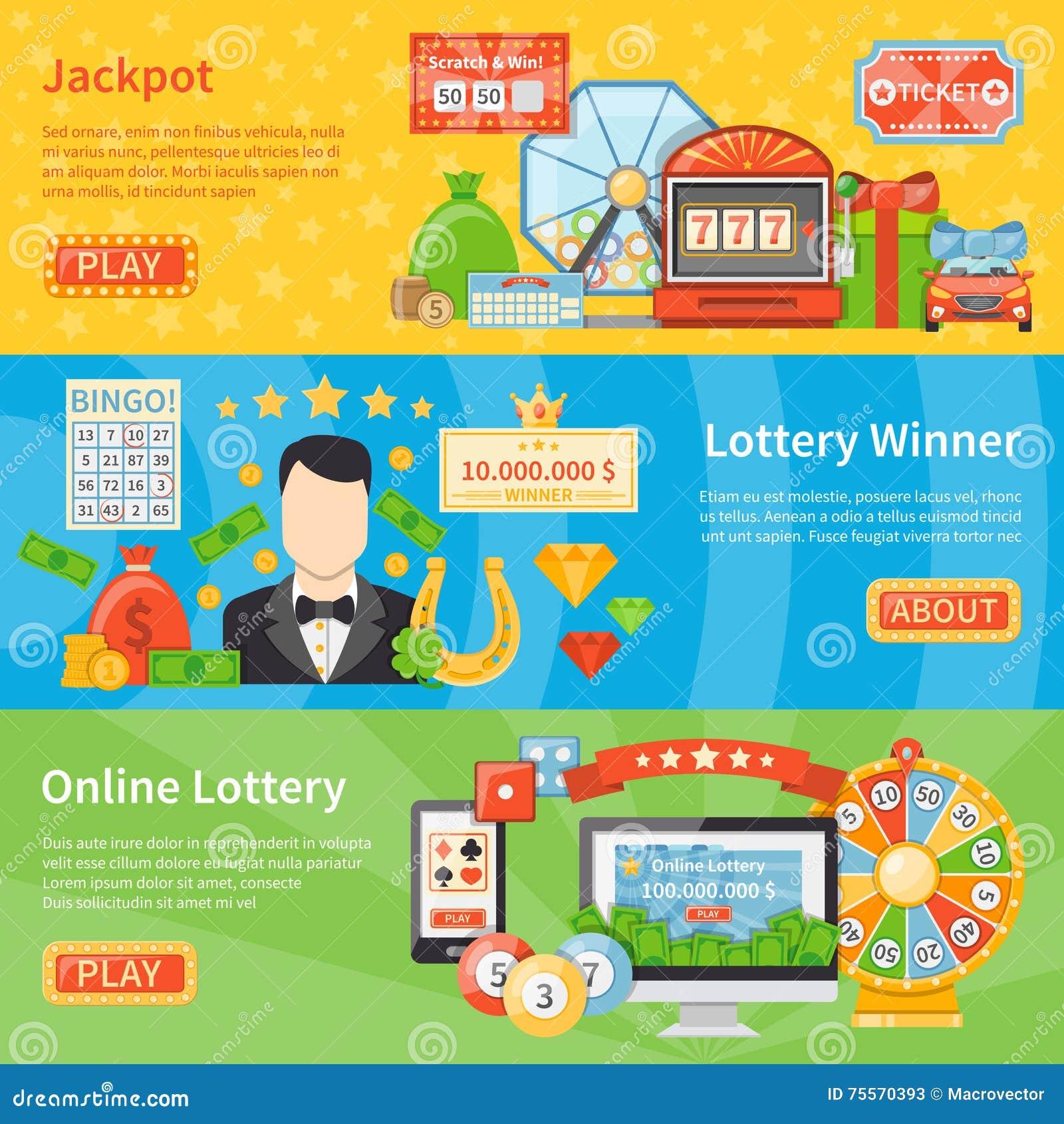 Знамена лотереи и джэкпота горизонтальные