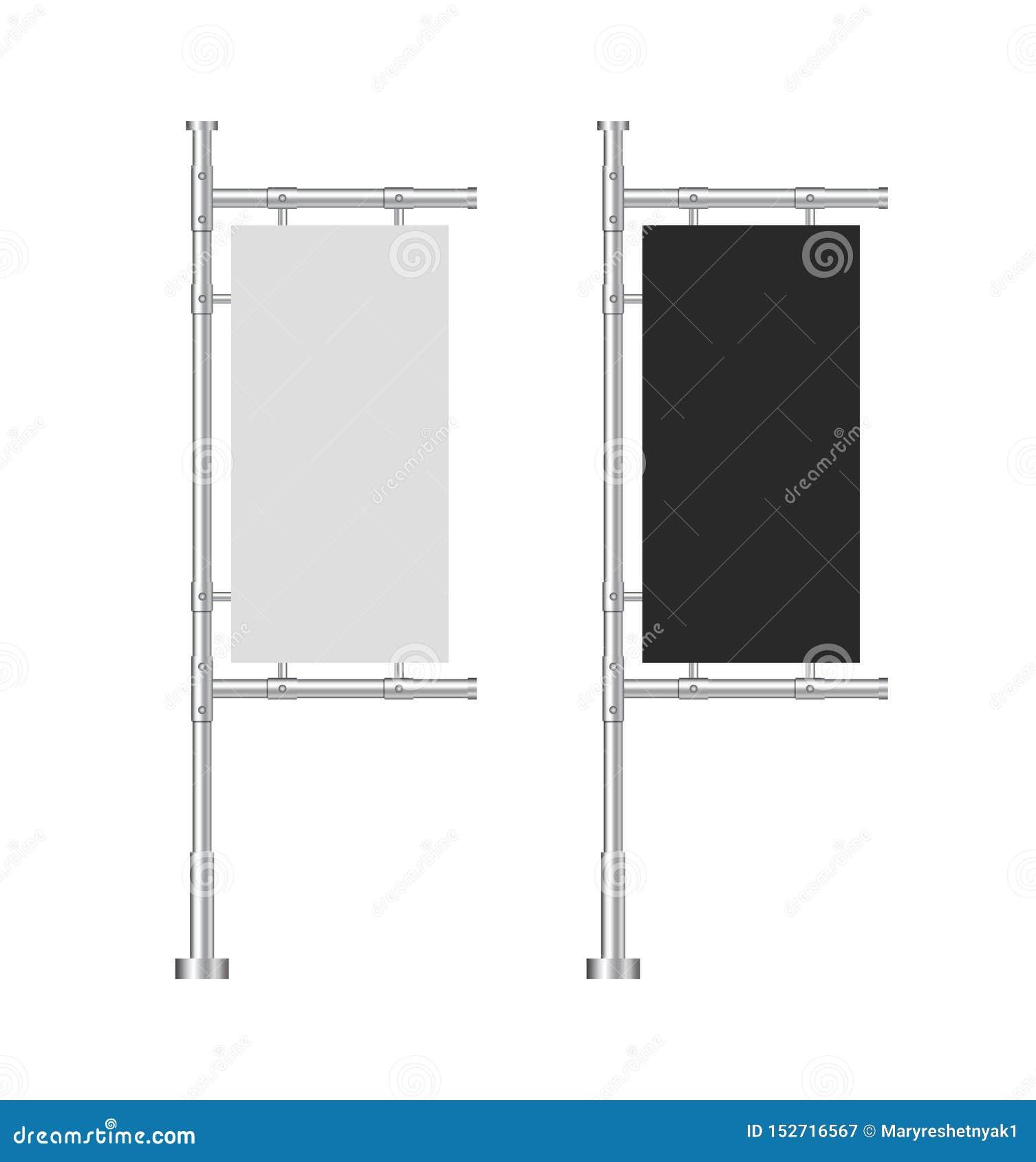 Знамена пробела дизайна для вебсайта Белые и черные на открытом воздухе панели сигнализируют в стиле модель-макета Стойка реклами