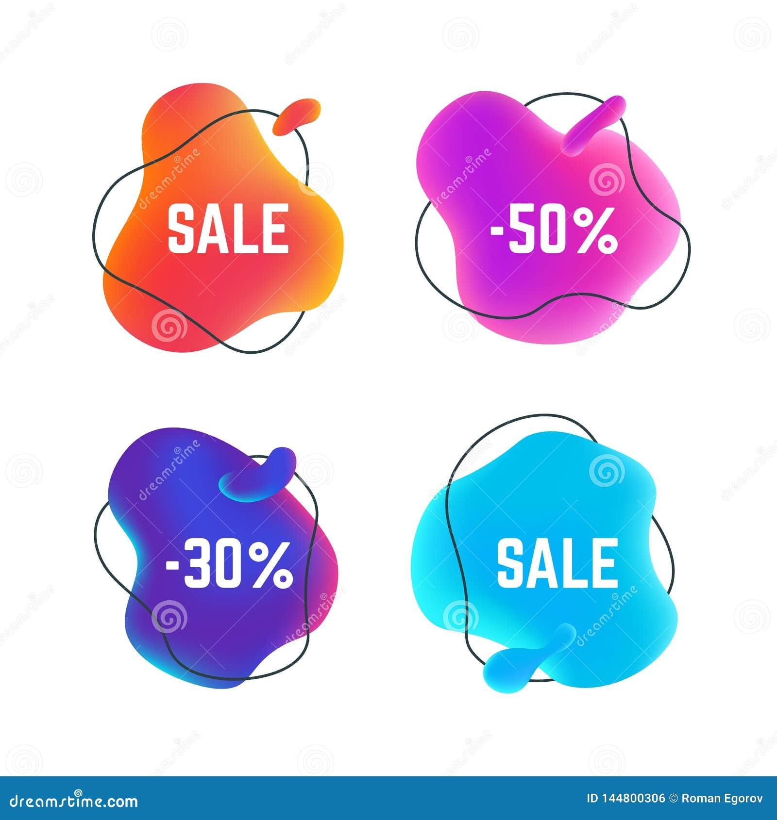 Знамена продажи жидкие Органический абстрактный круглый пузырь назва
