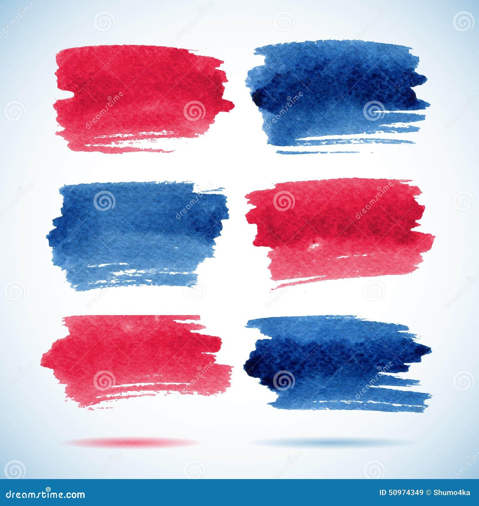 Знамена Brushstroke Акварель чернил красная и голубая