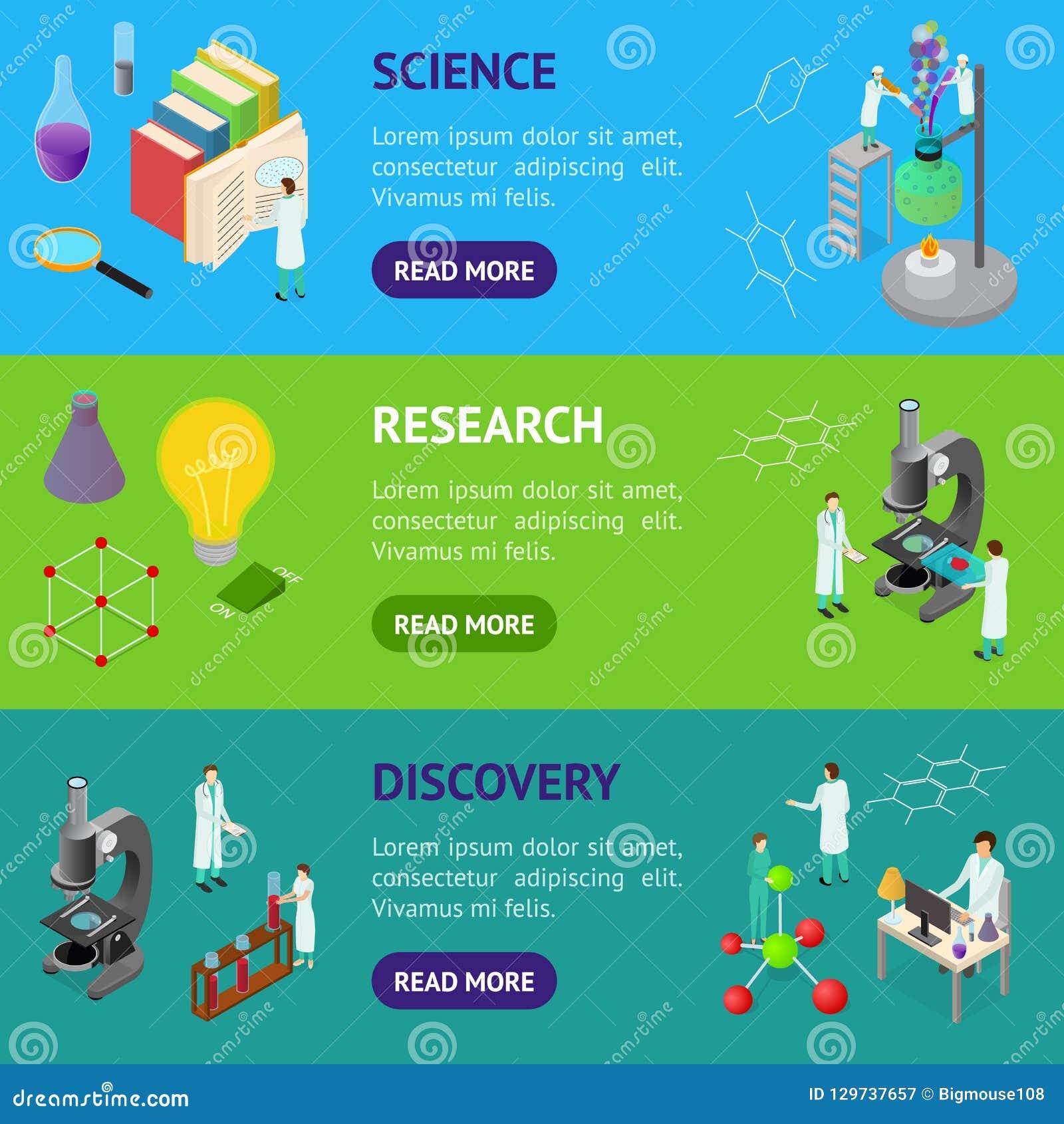 Знамени концепции науки взгляд набора 3d химического фармацевтического горизонтальный равновеликий вектор