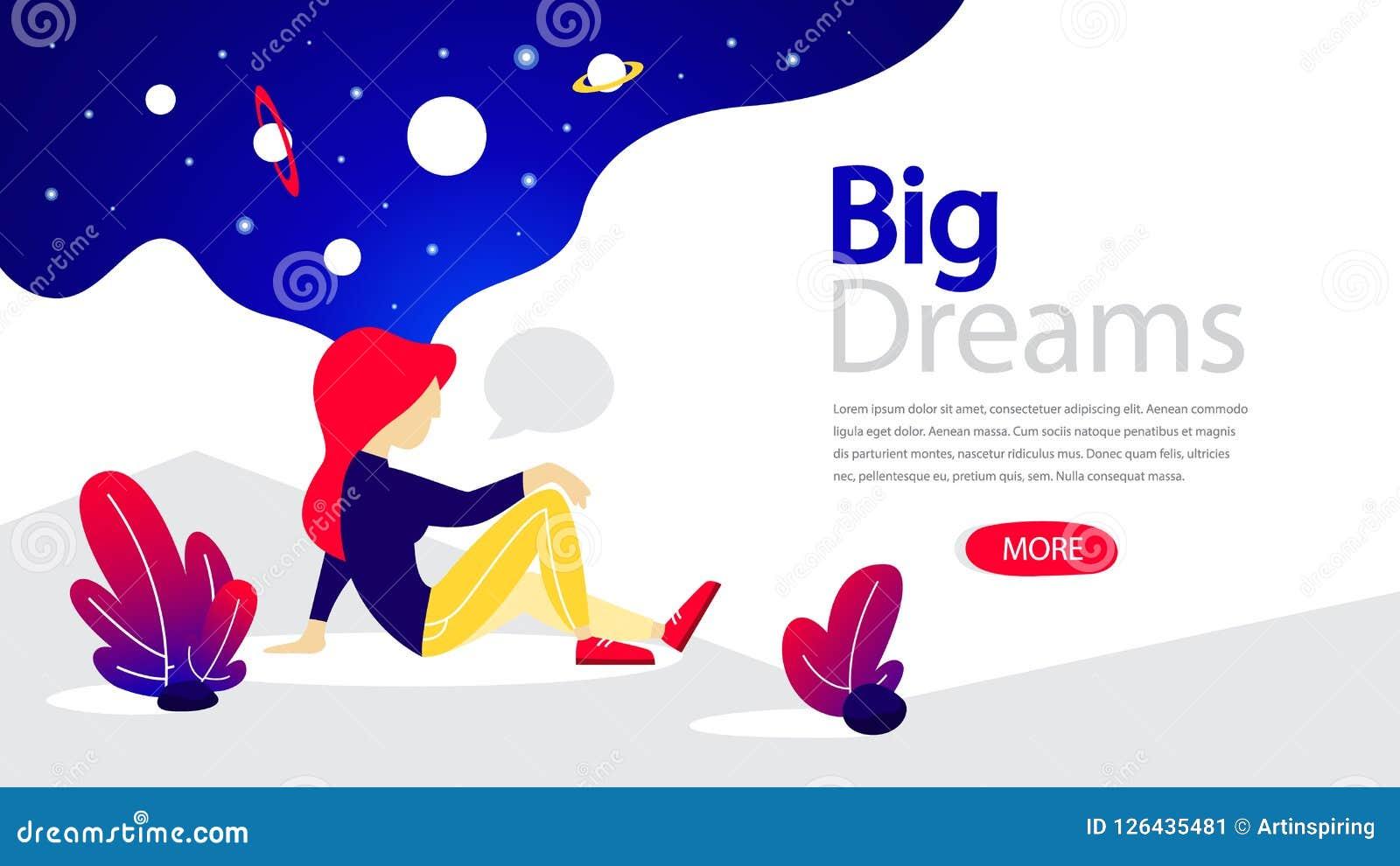 Знамя больших мечт горизонтальное для вашего вебсайта