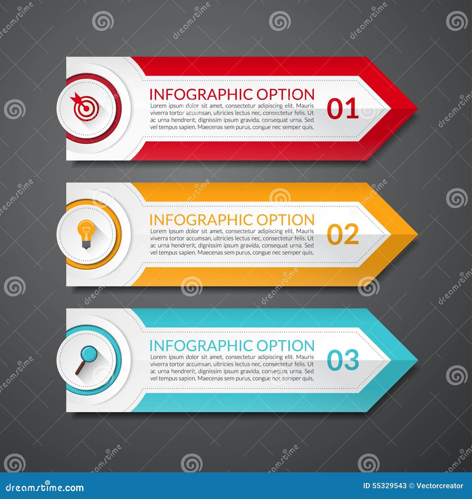 Знамя вариантов номера стрелки дизайна Infographic
