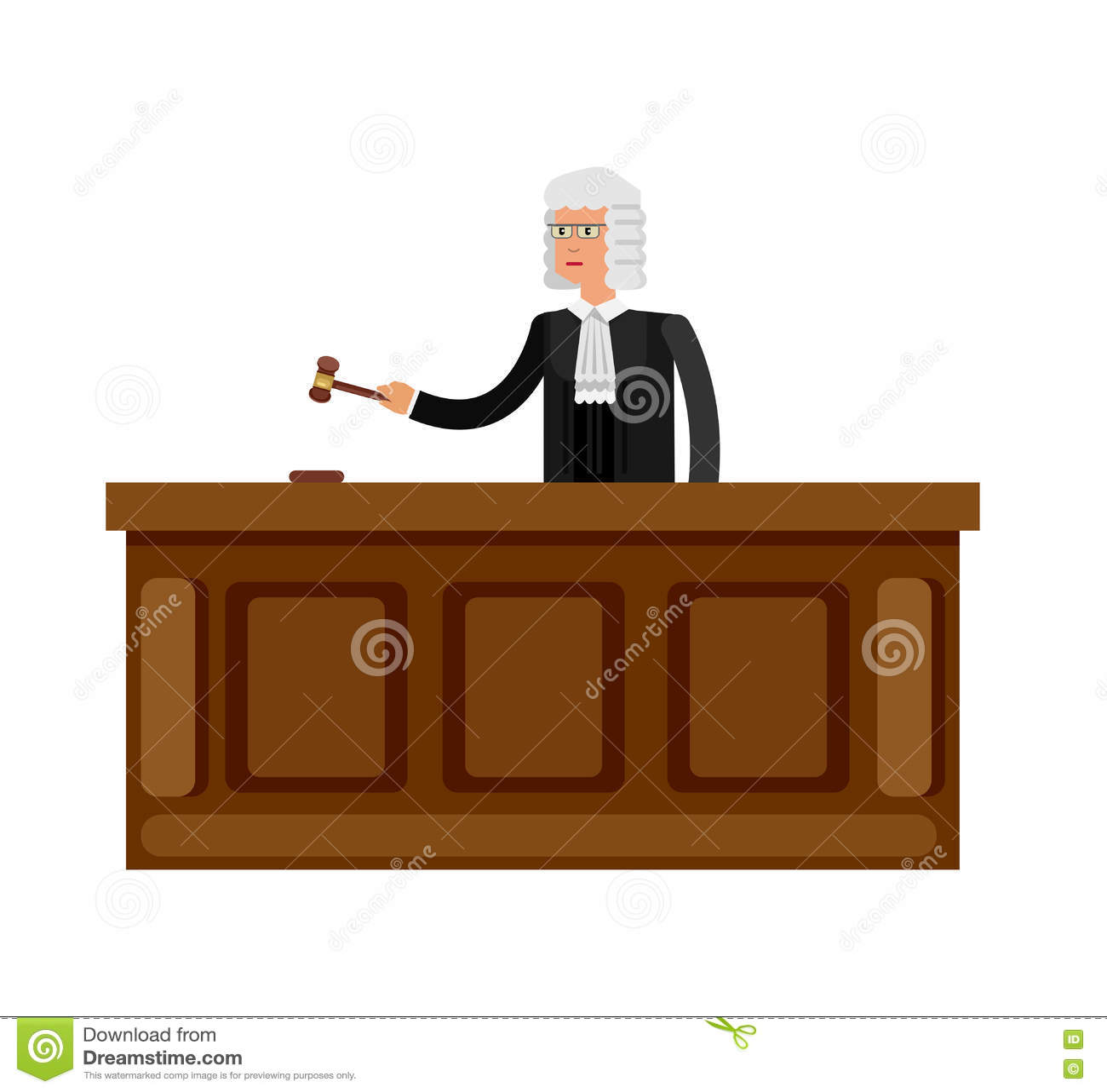 Знамя закона горизонтальное установило с иллюстрацией вектора элементов судебной системы