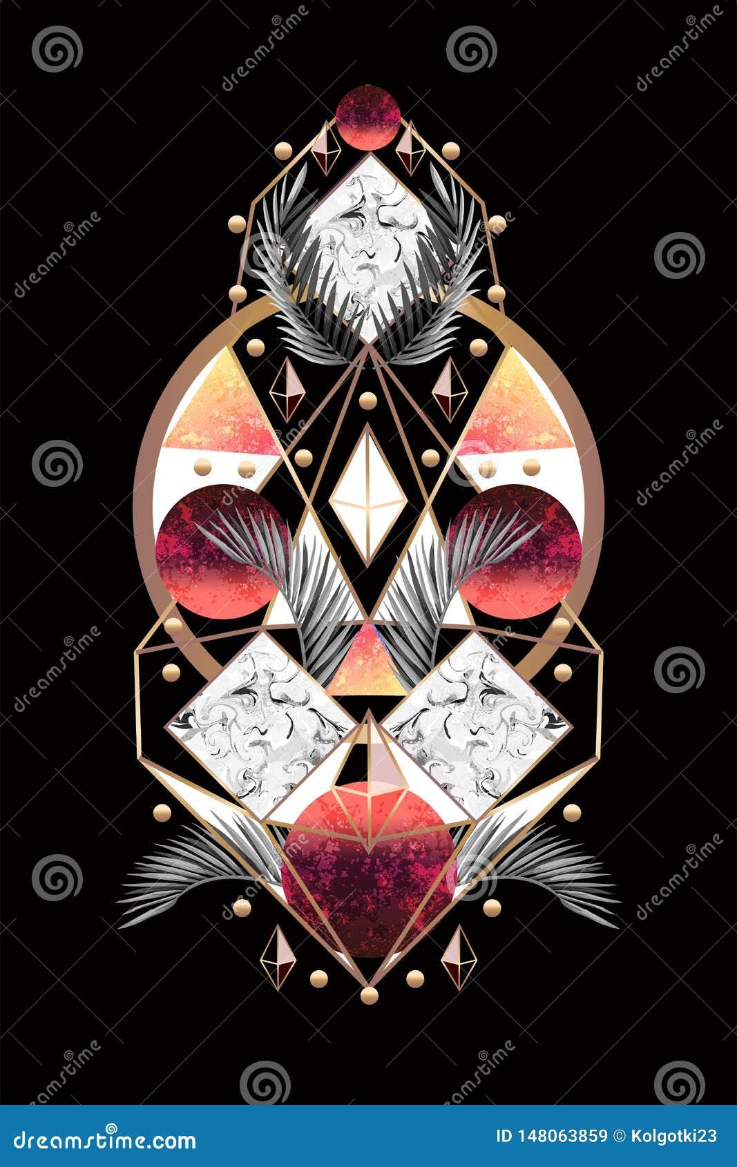 Знамя или печать дизайна конспекта симметрии с листьями и треугольниками ладони r