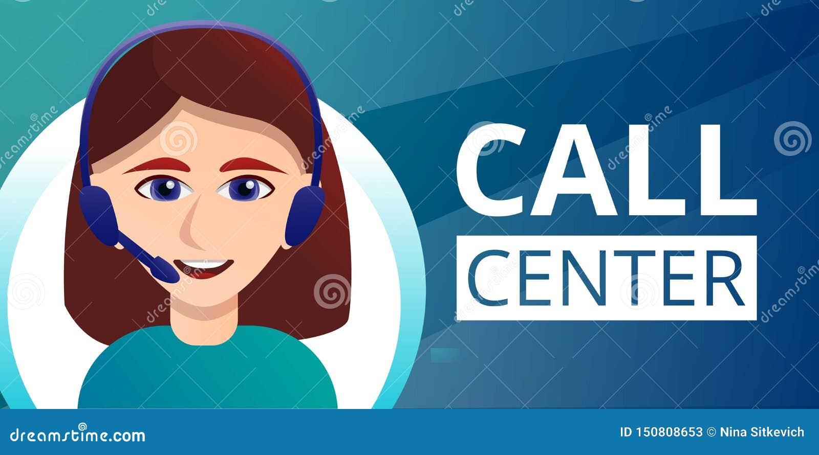 Знамя концепции центра телефонного обслуживания, стиль мультфильма