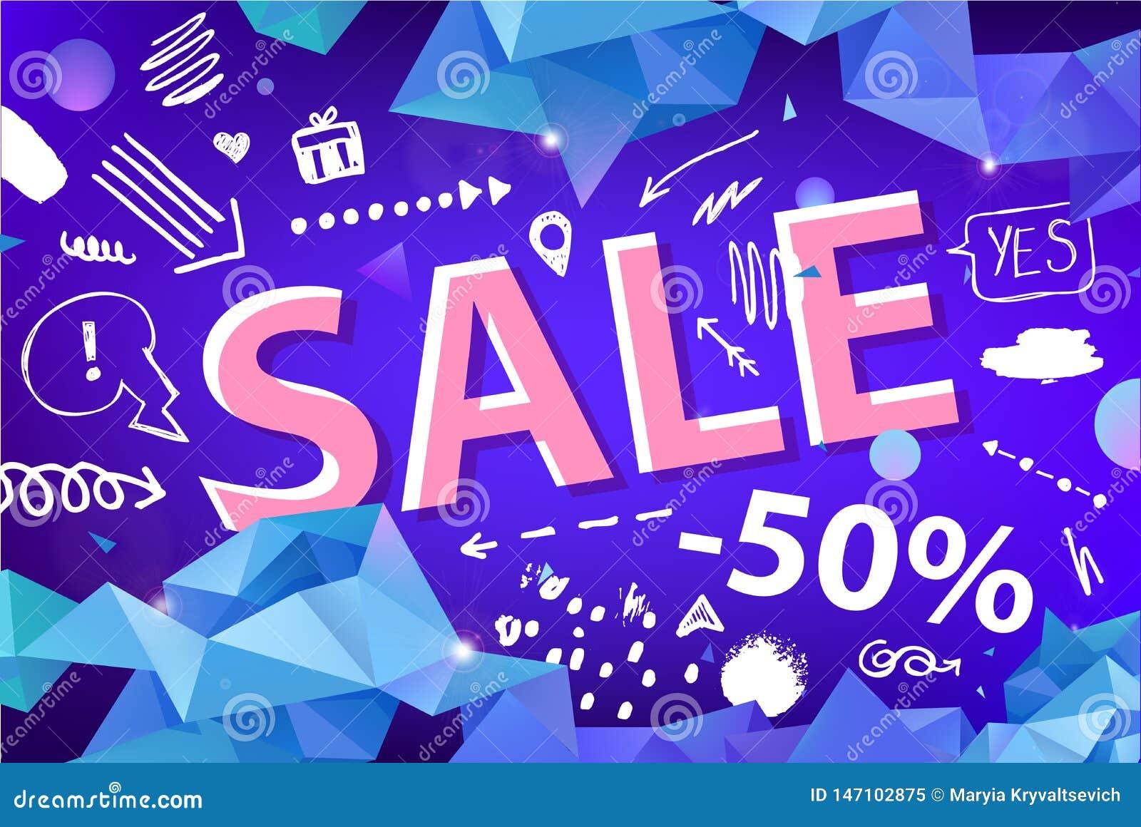 Знамя продажи вектора, плакат с нарисованной рукой doodle элементы фасетка origami 3d формирует плакаты promo
