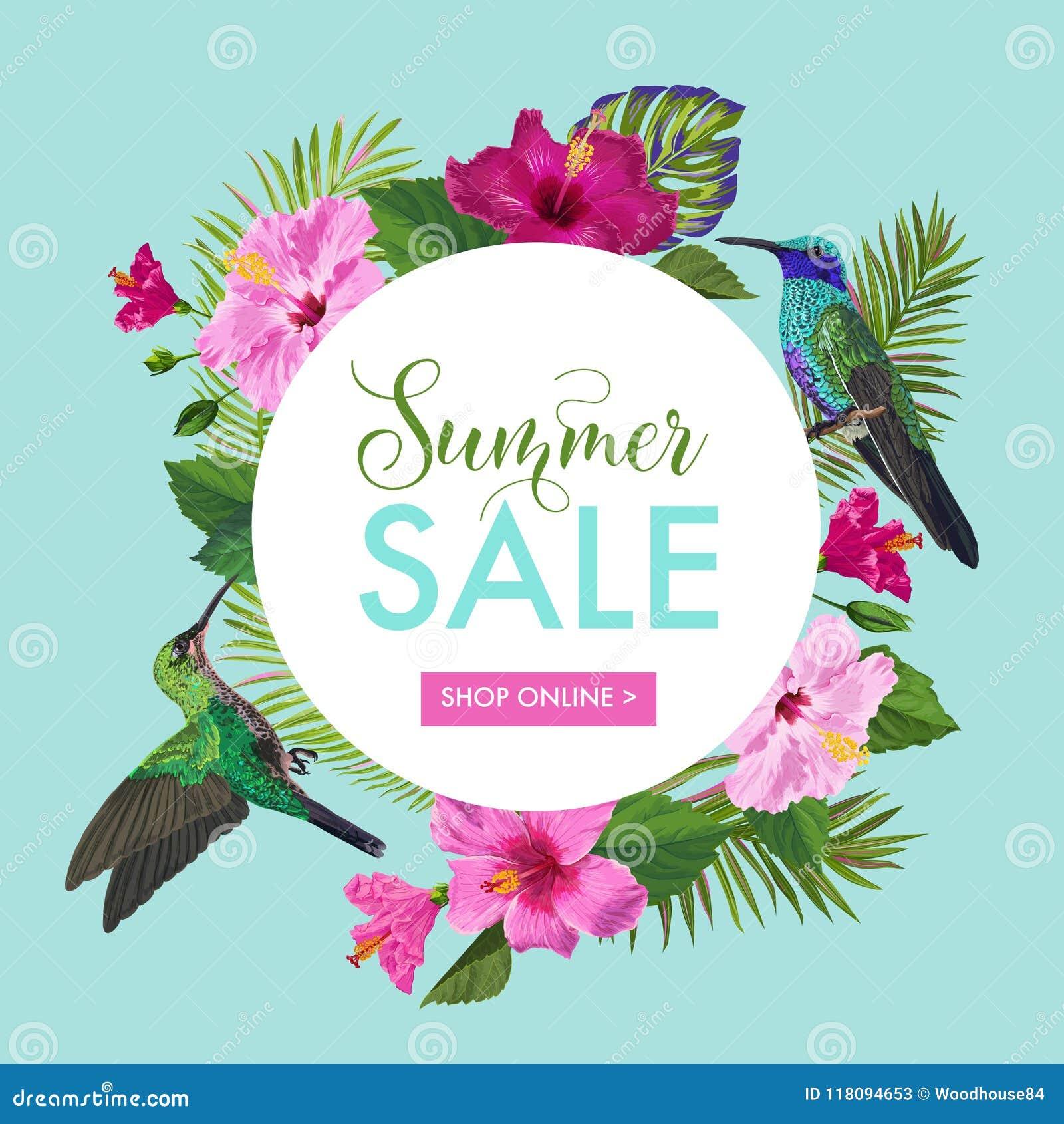 Знамя продажи лета с тропическими цветками и птицами припевать Флористический шаблон для Promo, рогульки скидки, ваучера