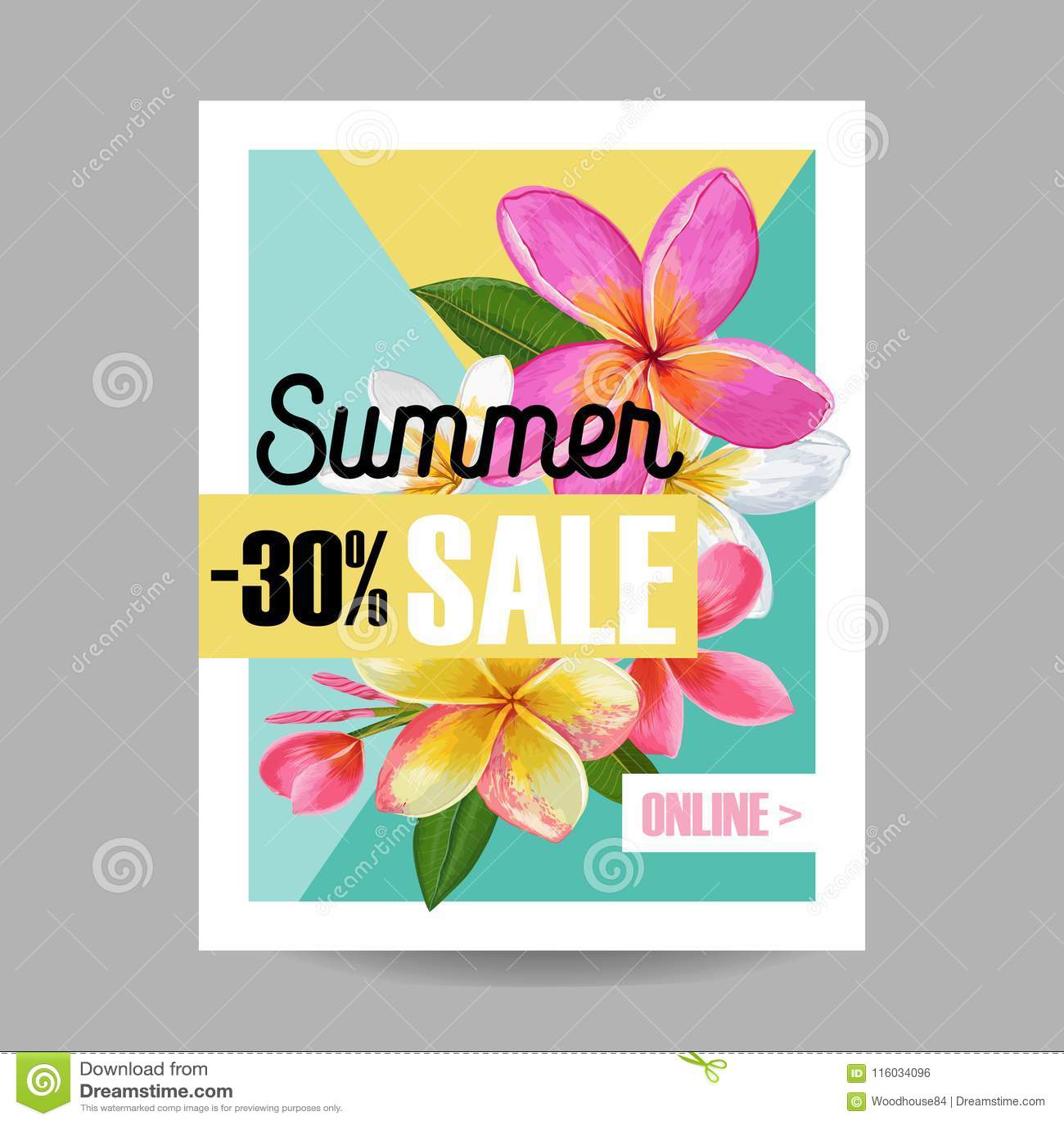Знамя продажи лета флористическое Сезонная реклама скидки с розовыми цветками Plumeria Тропическая весна рая