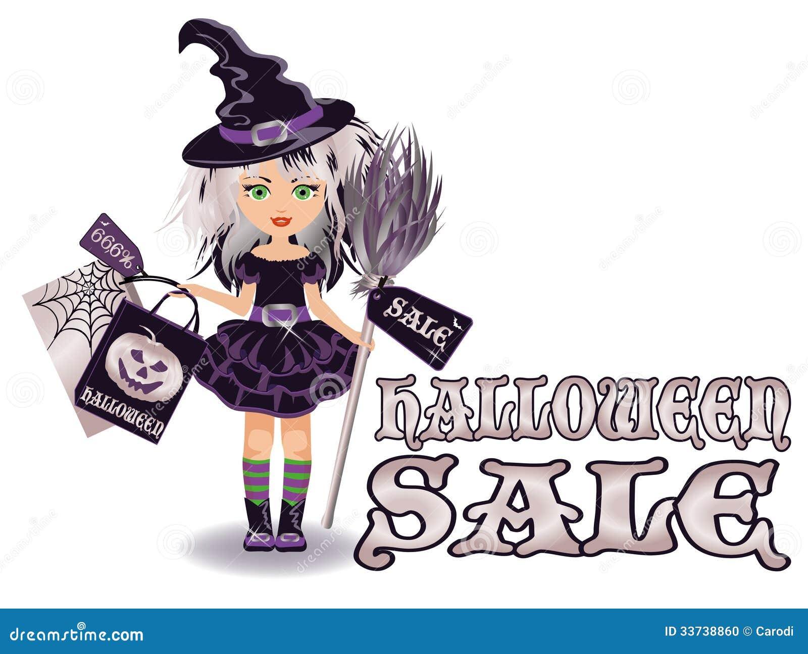 Знамя продажи хеллоуина с маленькой ведьмой