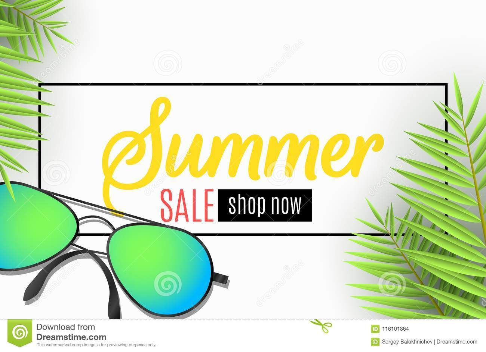 Знамя сети для продажи лета Солнечные очки на пляже выходит пальма  Специальное предложение Сезонные скидки волны 92c5e074ed1