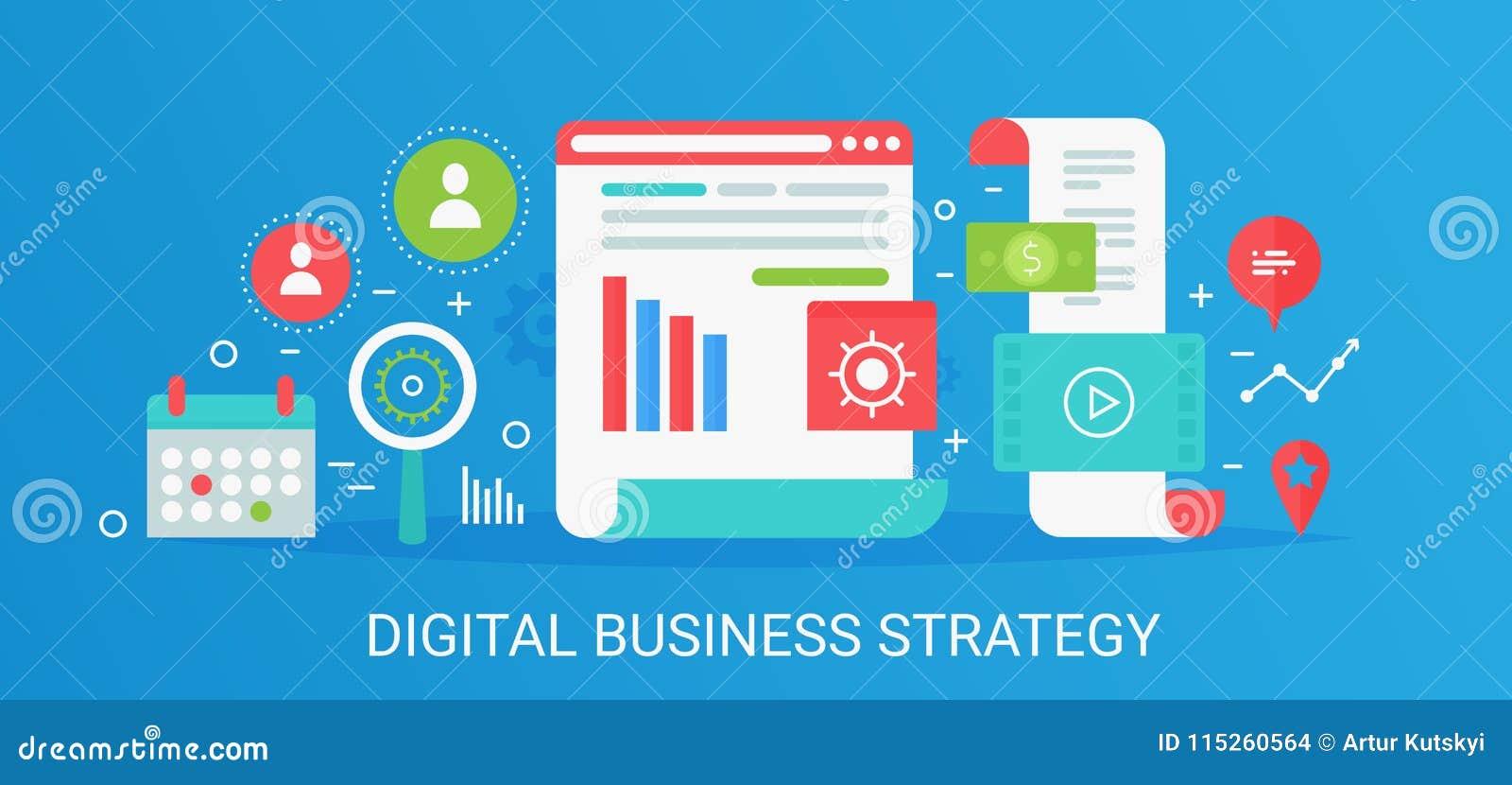 Знамя стратегии бизнеса плоской современной концепции вектора цифровое с значками и текстом