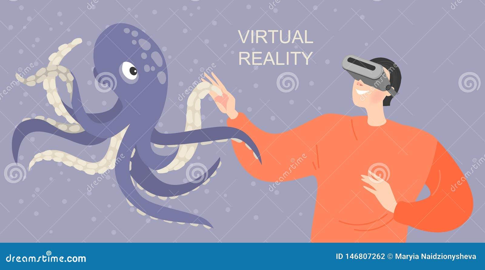 Знамя с мальчиком в стеклах виртуальной реальности усмехаясь и протягивая руки к виртуальному осьминогу Сыграйте и выучите с совр